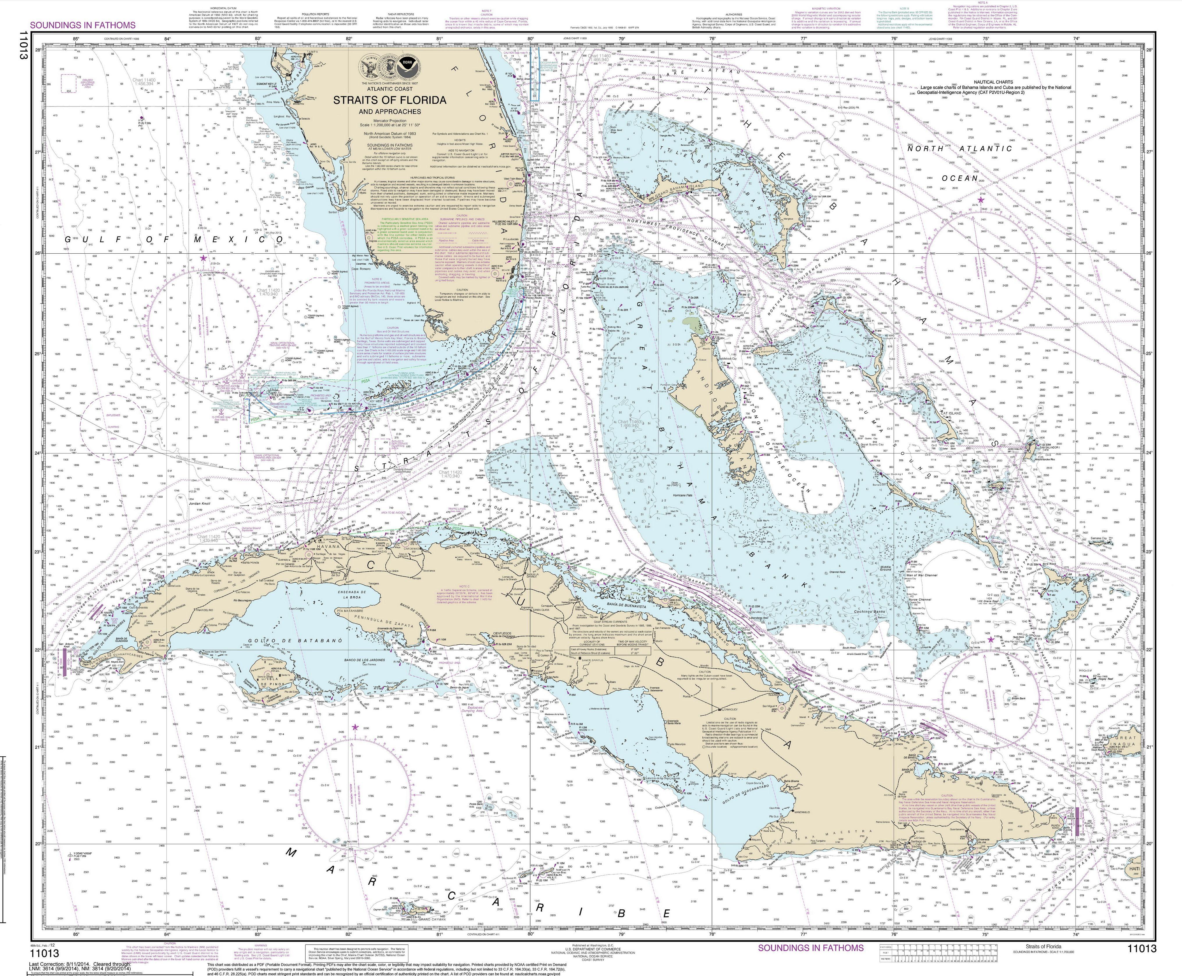 Modern Nautical Maps Of Florida - 1:400,000 Scale Nautical Charts - Nautical Maps Florida