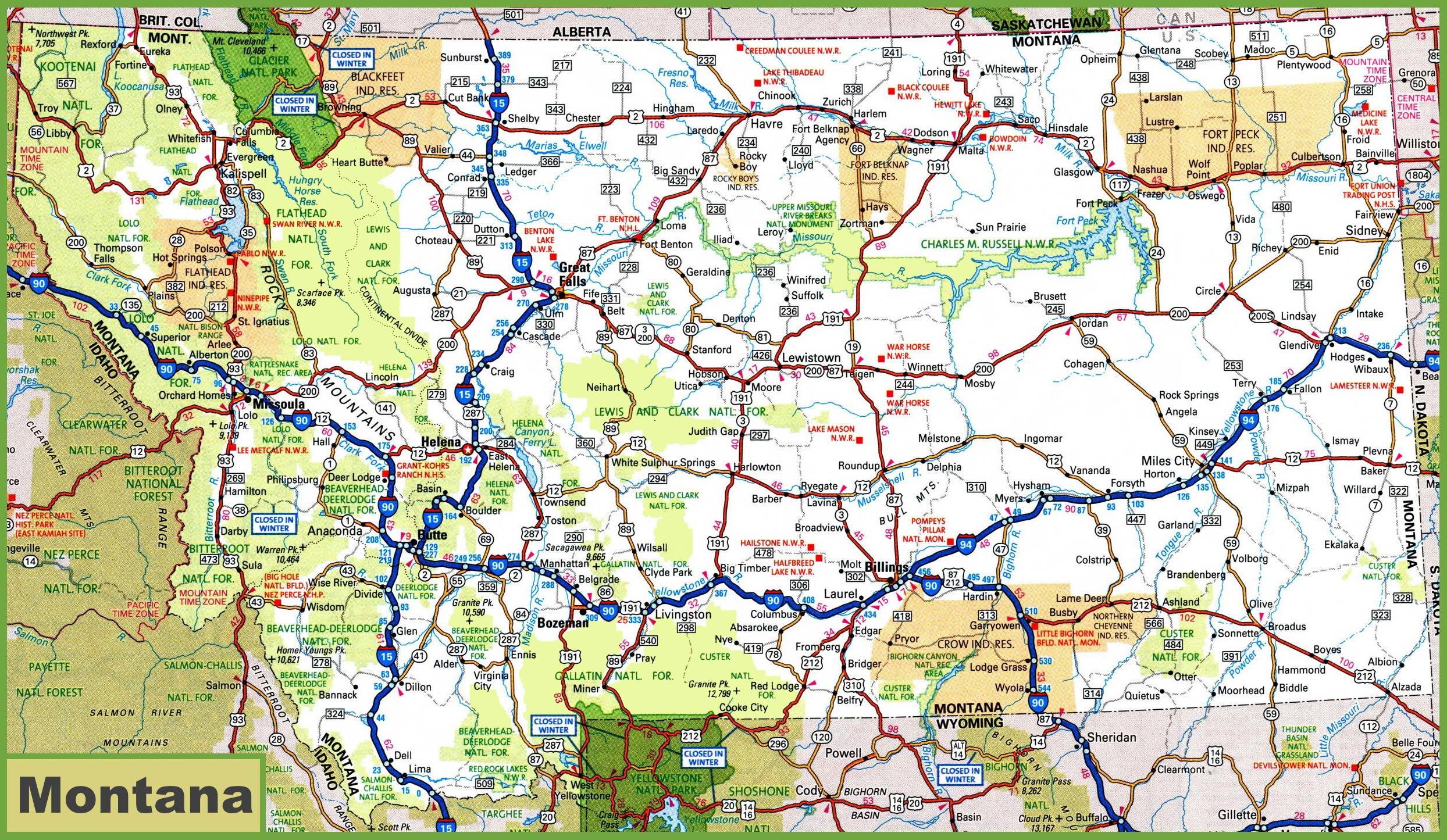 Montana Road Map - Printable Road Maps