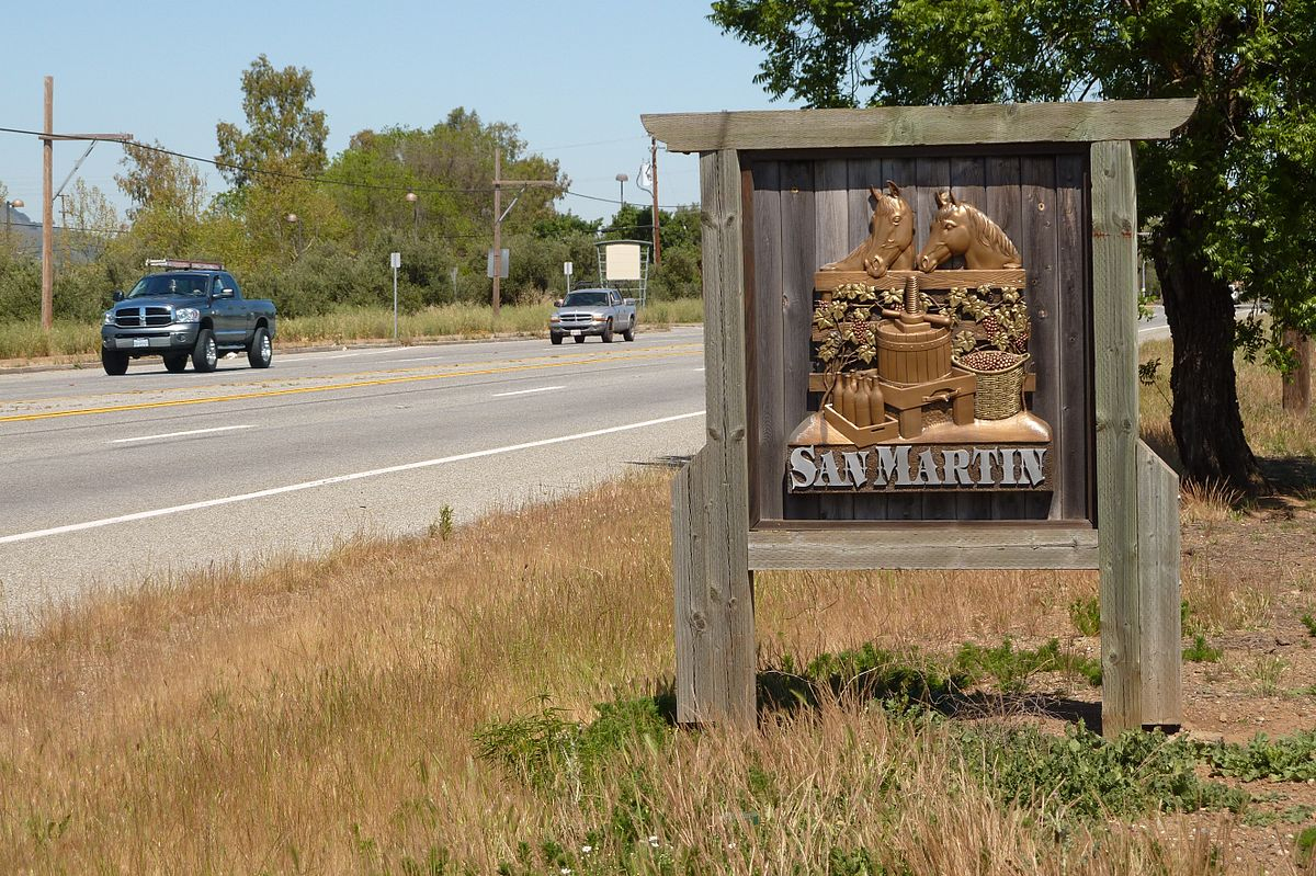 Monterey Road - Wikipedia - San Martin California Map