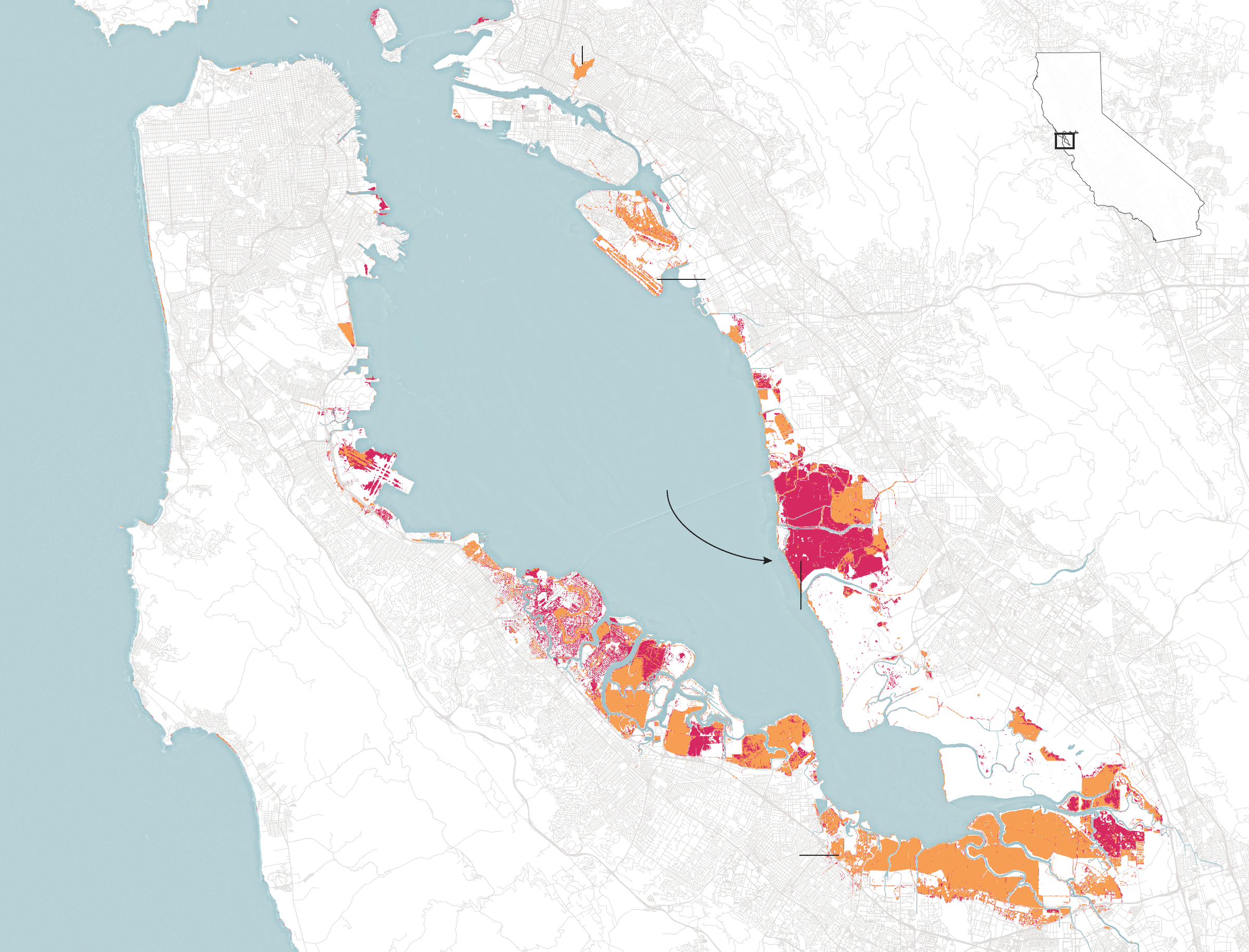 More Of The Bay Area Could Be Underwater In 2100 Than Previously - California Sea Level Rise Map