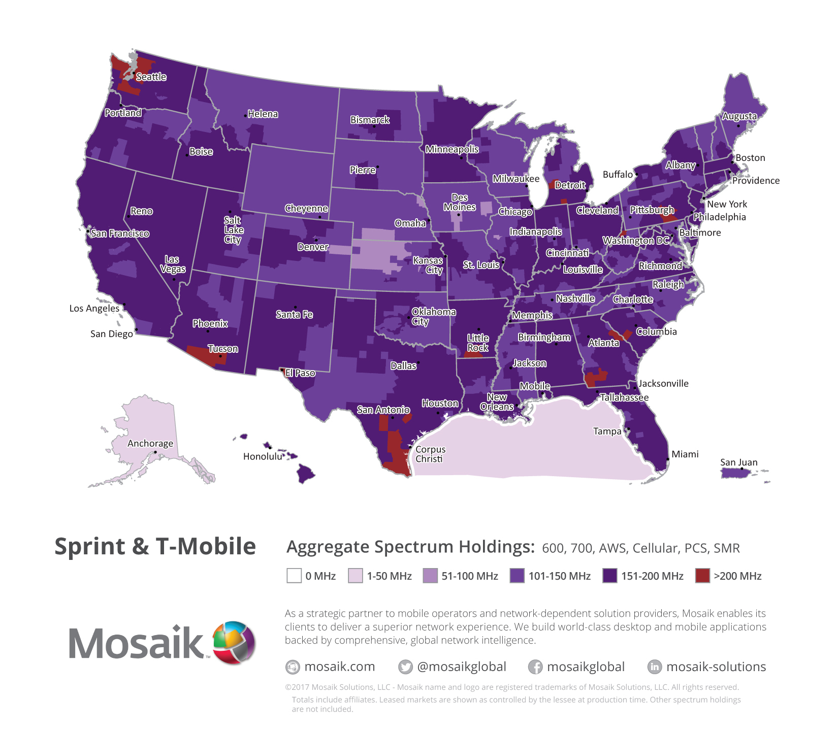 Mosaik Maps Leveraged To Visualize Merged Sprint/t-Mobile Network - Spectrum Coverage Map Florida
