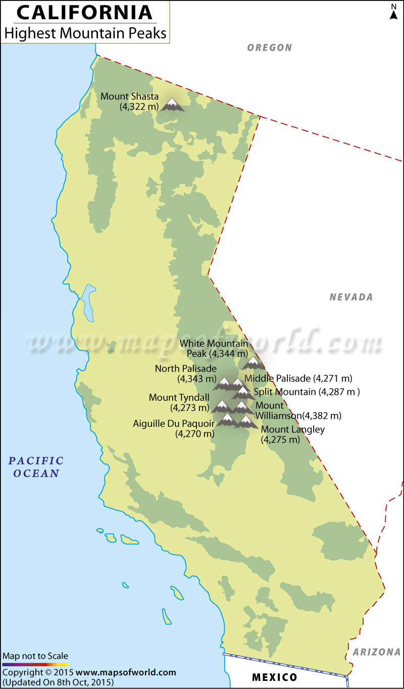 Mountain Ranges Maps Of California California Map With Mountains Map - Mount Shasta California Map