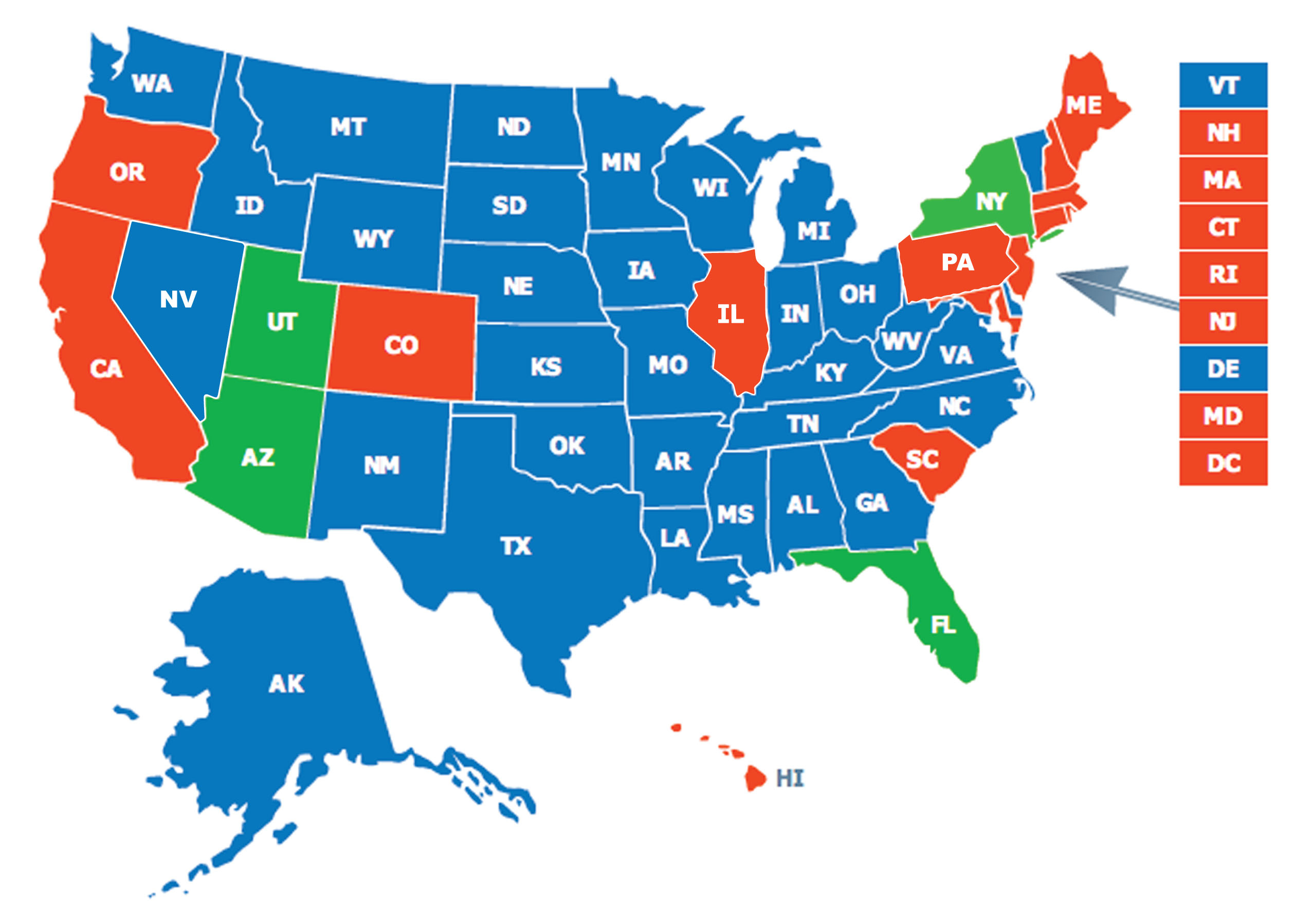 Multi-State Ccw Class | Firearms Training Of Wny - Florida Concealed Carry States Map