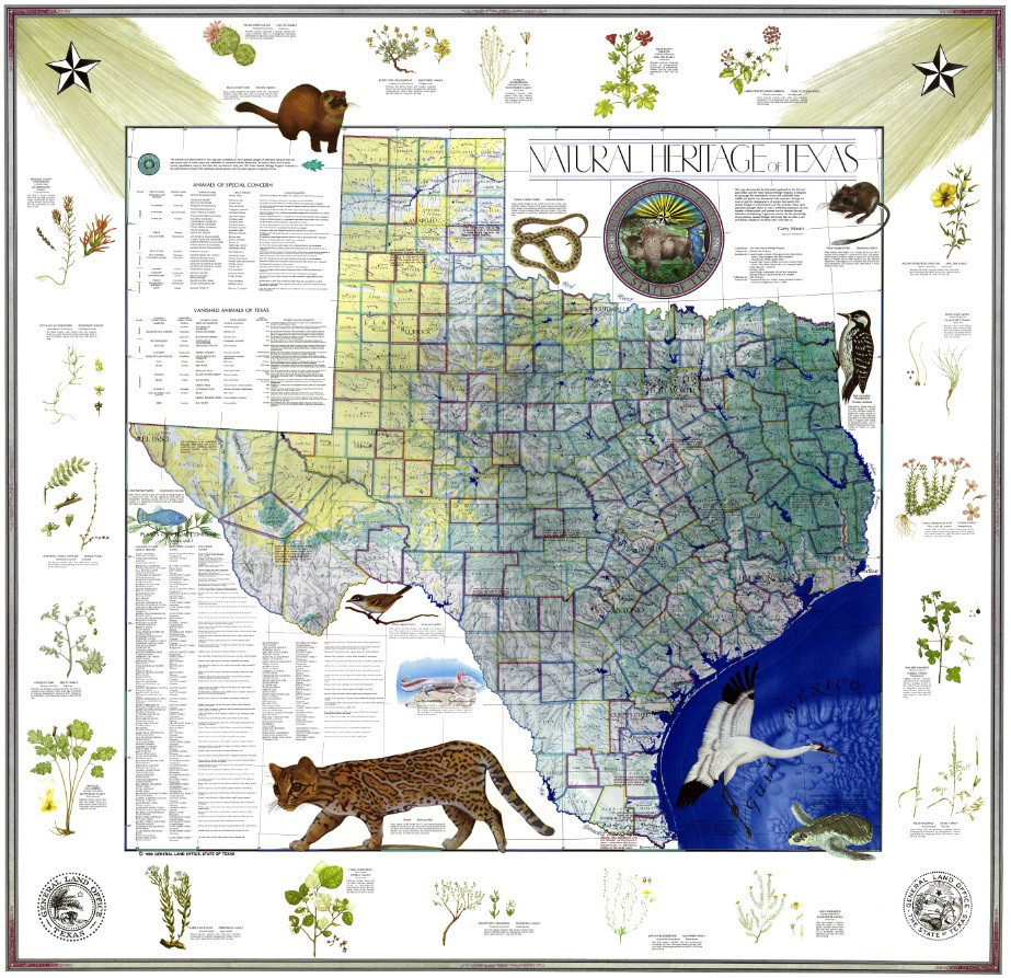 My Favorite Map: The Natural Heritage Map Of Texas, 1986 - Texas Land Map
