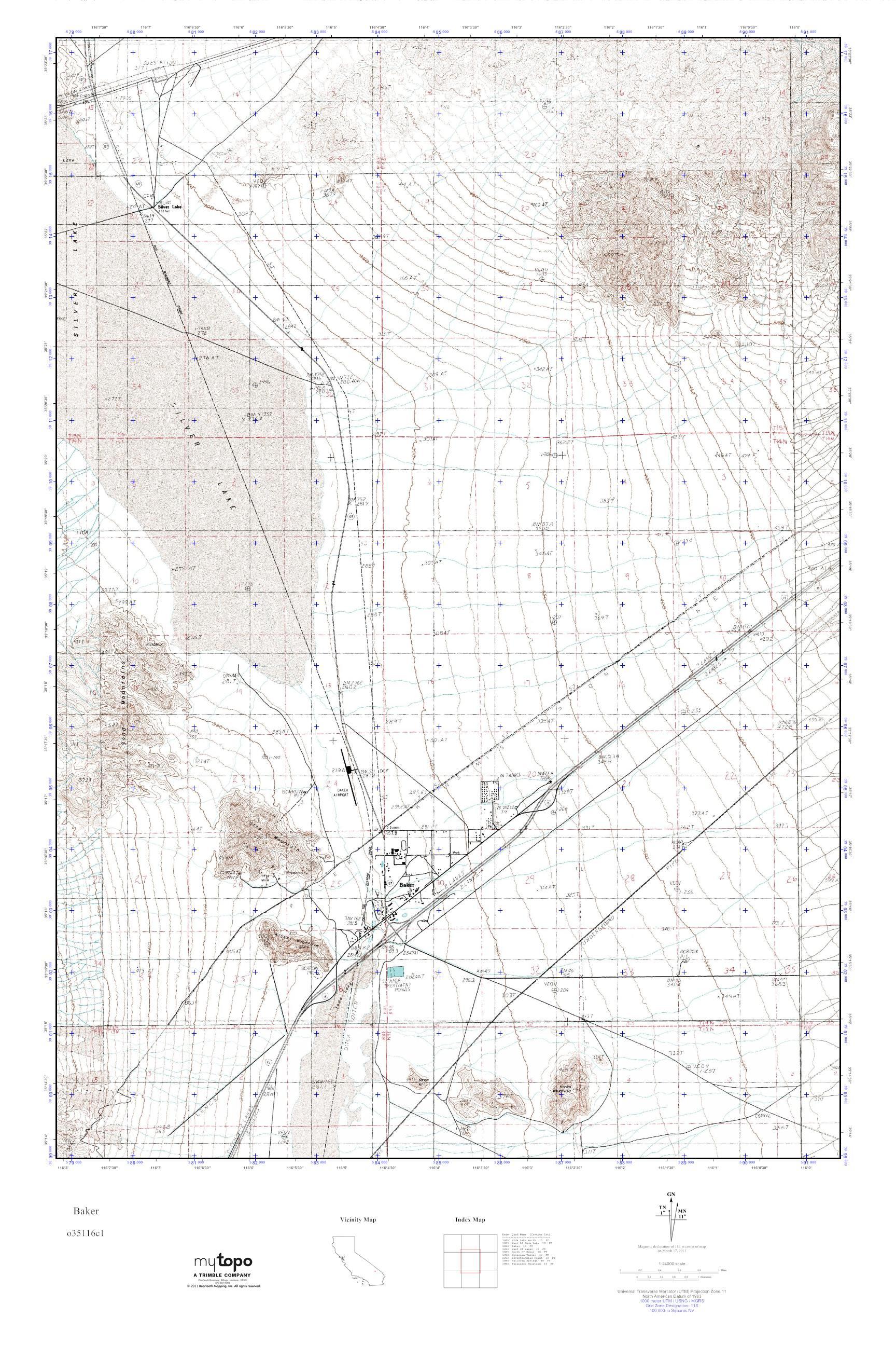 Mytopo Baker, California Usgs Quad Topo Map - Baker California Map