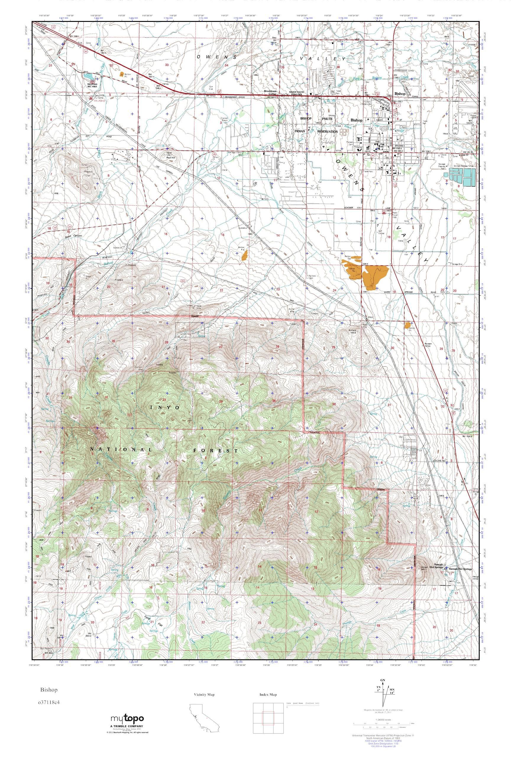 Mytopo Bishop, California Usgs Quad Topo Map - Map Of Bishop California Area
