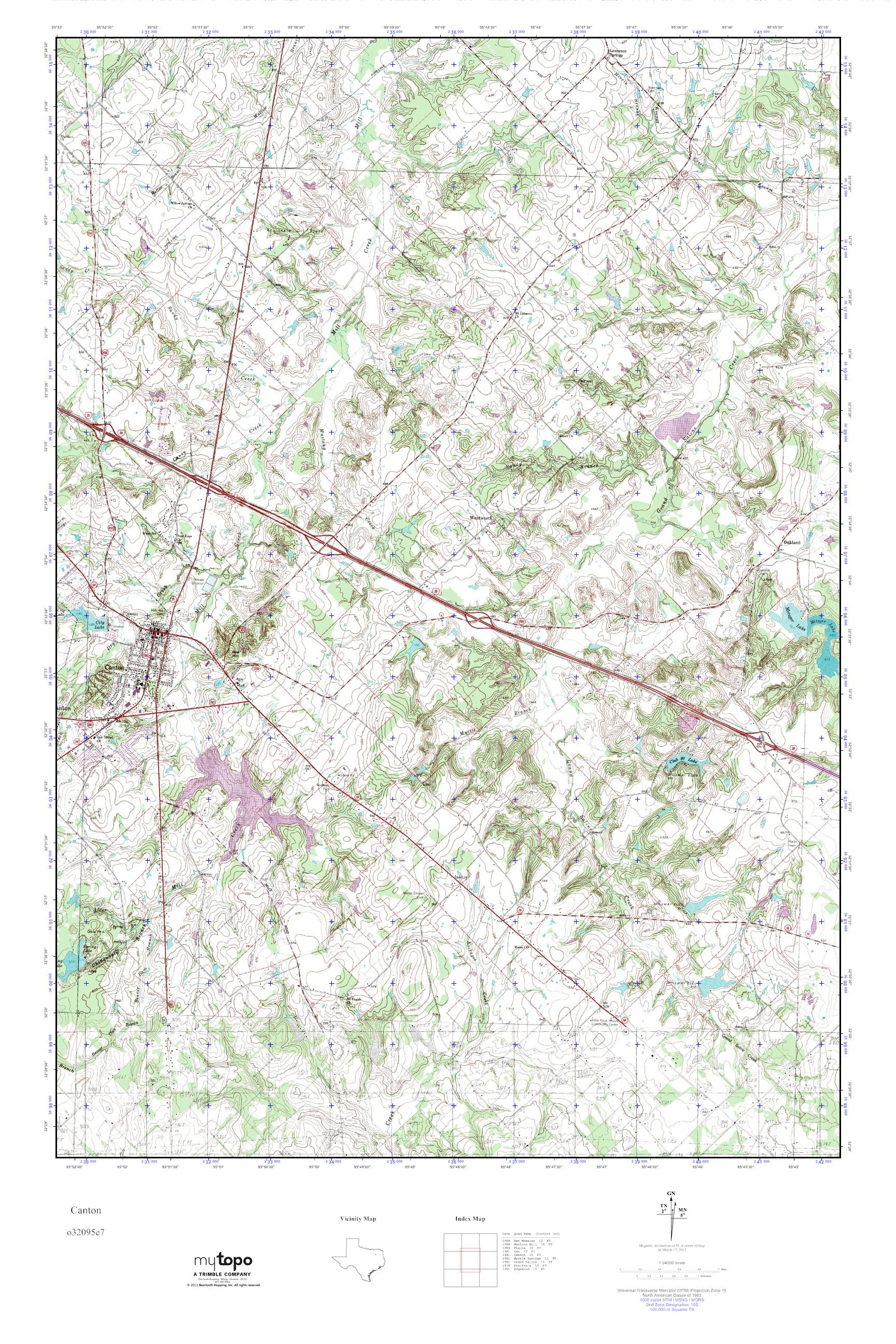 Mytopo Canton, Texas Usgs Quad Topo Map - Canton Texas Map