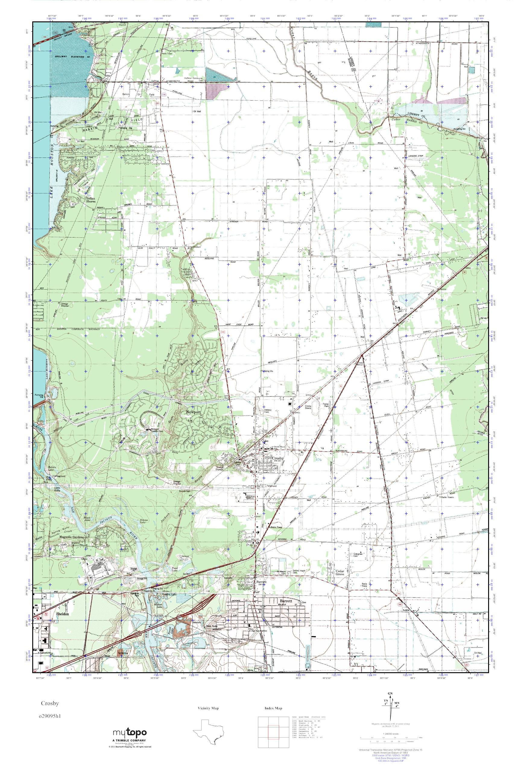 Mytopo Crosby, Texas Usgs Quad Topo Map - Crosby Texas Map