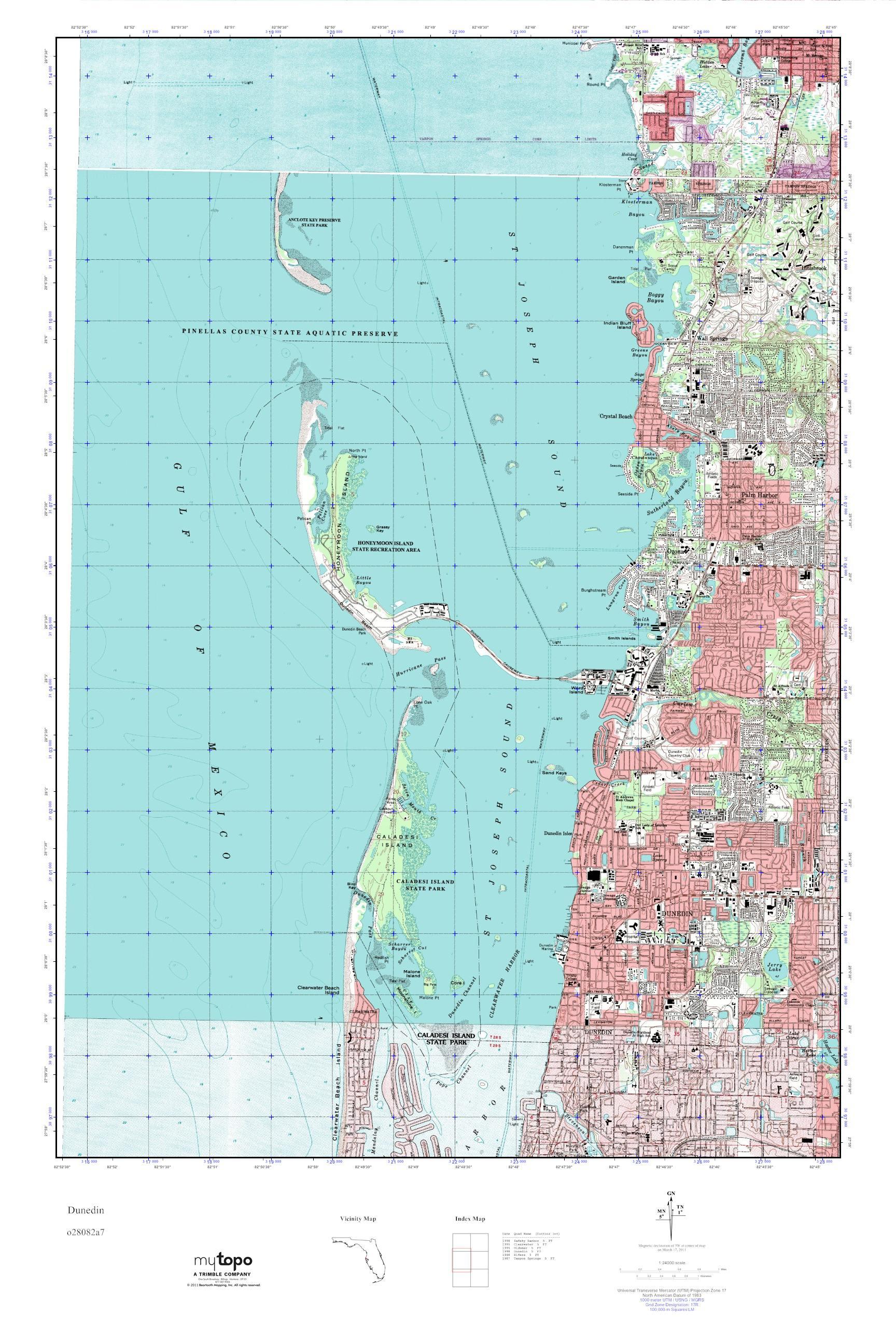 Mytopo Dunedin, Florida Usgs Quad Topo Map - Usgs Topographic Maps Florida