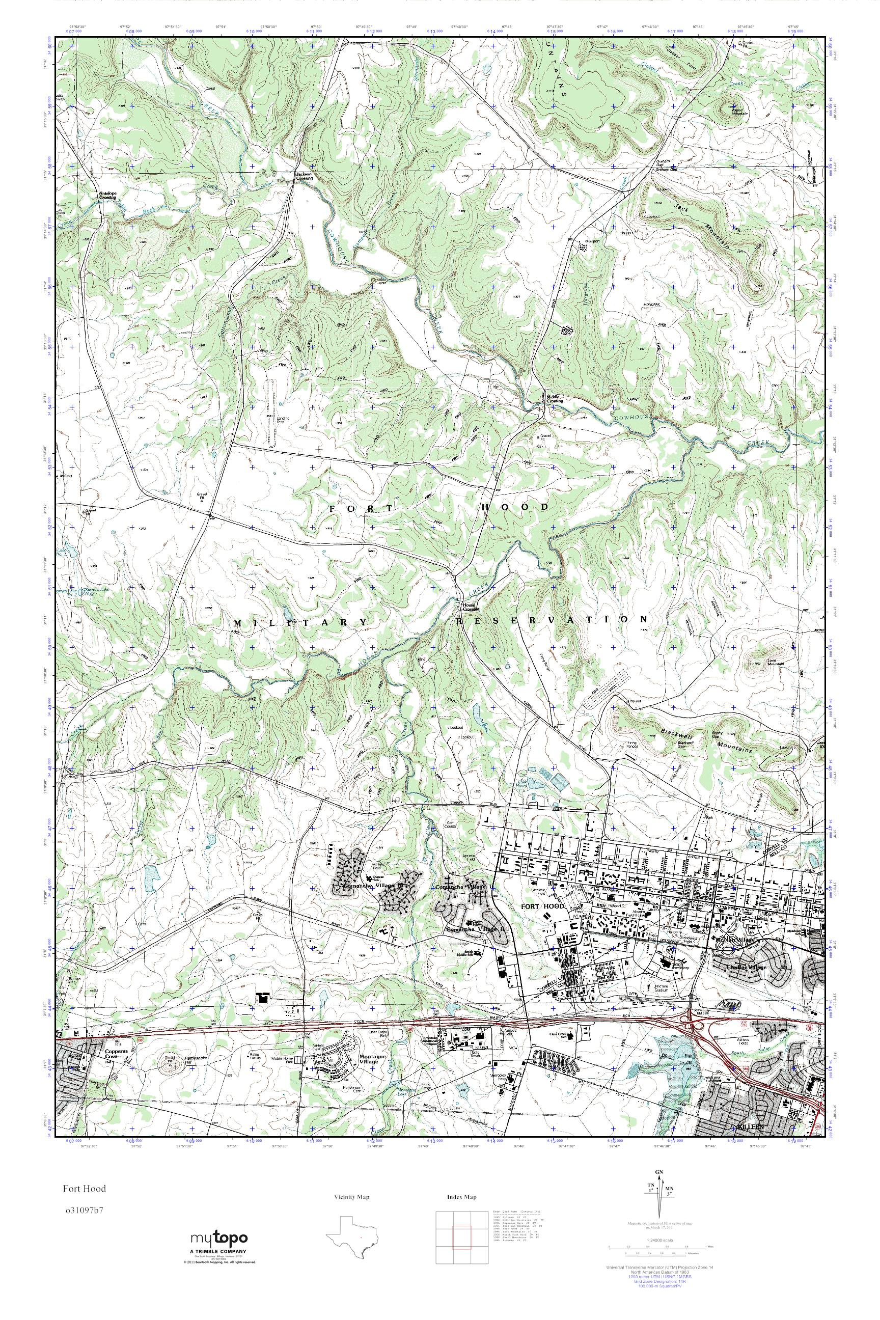 Mytopo Fort Hood, Texas Usgs Quad Topo Map - Fort Hood Texas Map