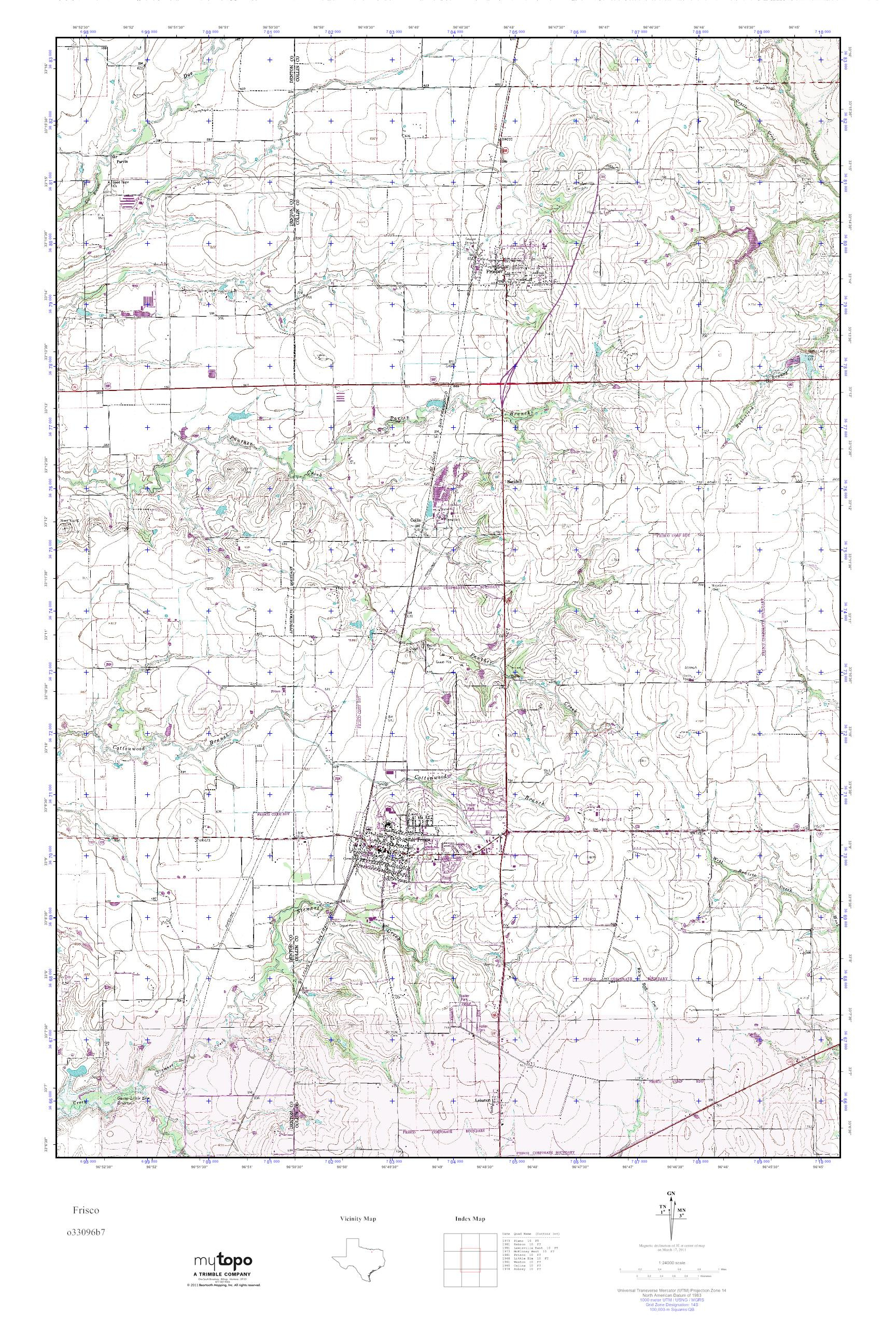 Mytopo Frisco, Texas Usgs Quad Topo Map - Frisco Texas Map
