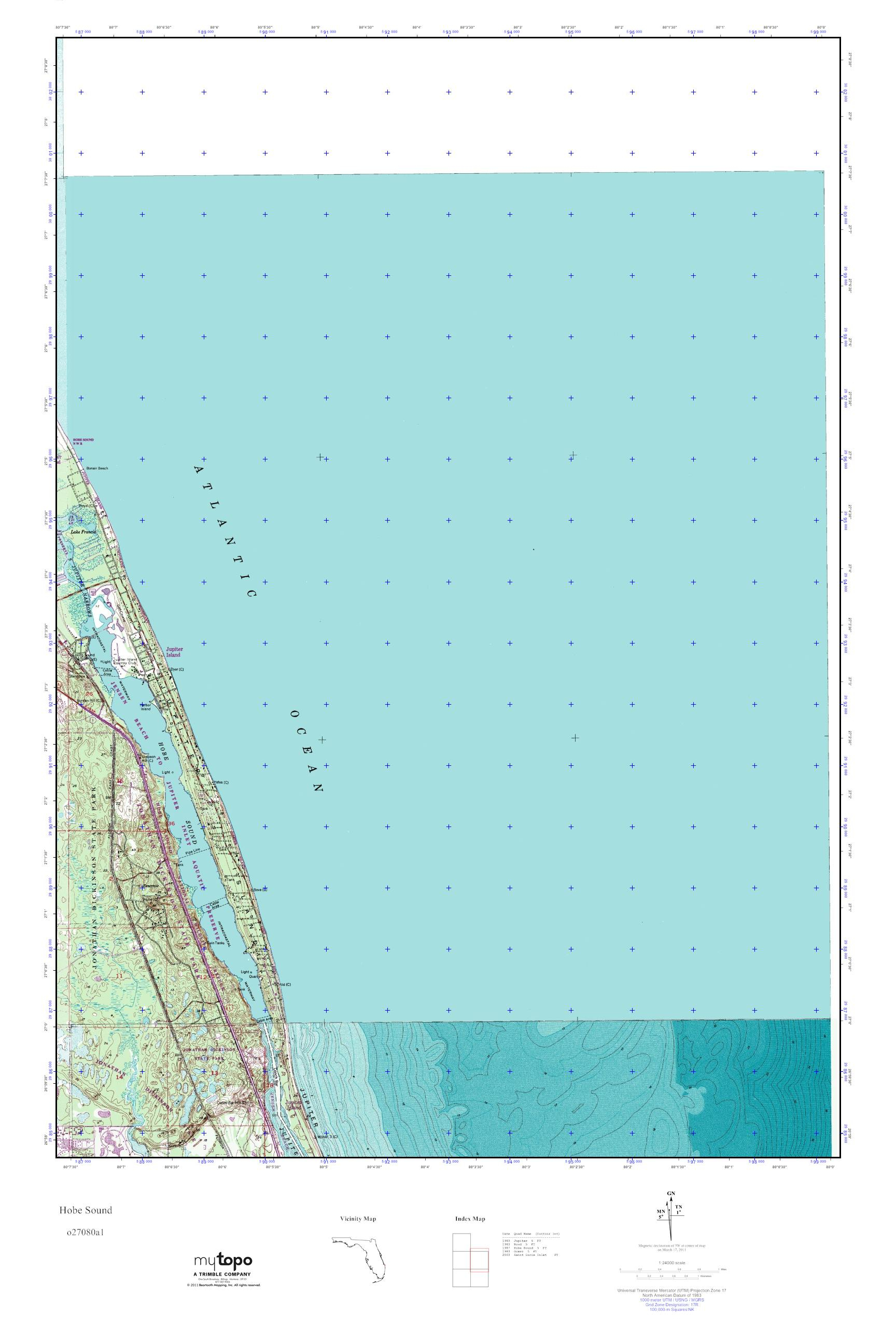 Mytopo Hobe Sound, Florida Usgs Quad Topo Map - Map Of Florida Showing Hobe Sound