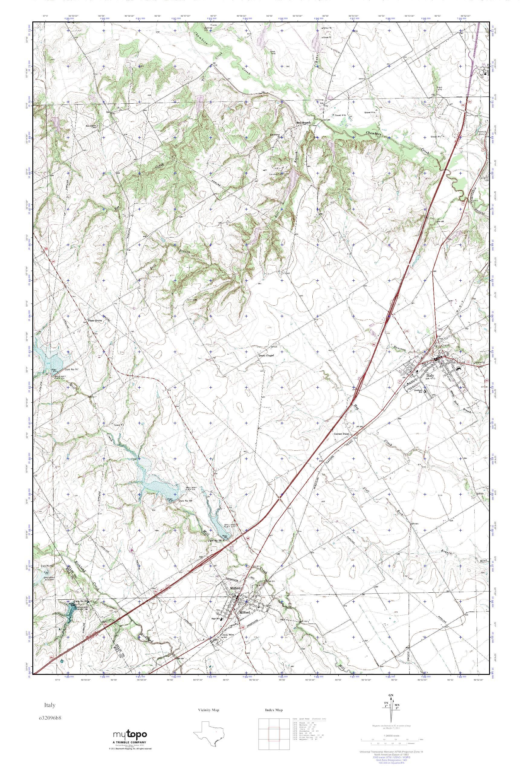Mytopo Italy, Texas Usgs Quad Topo Map - Italy Texas Map