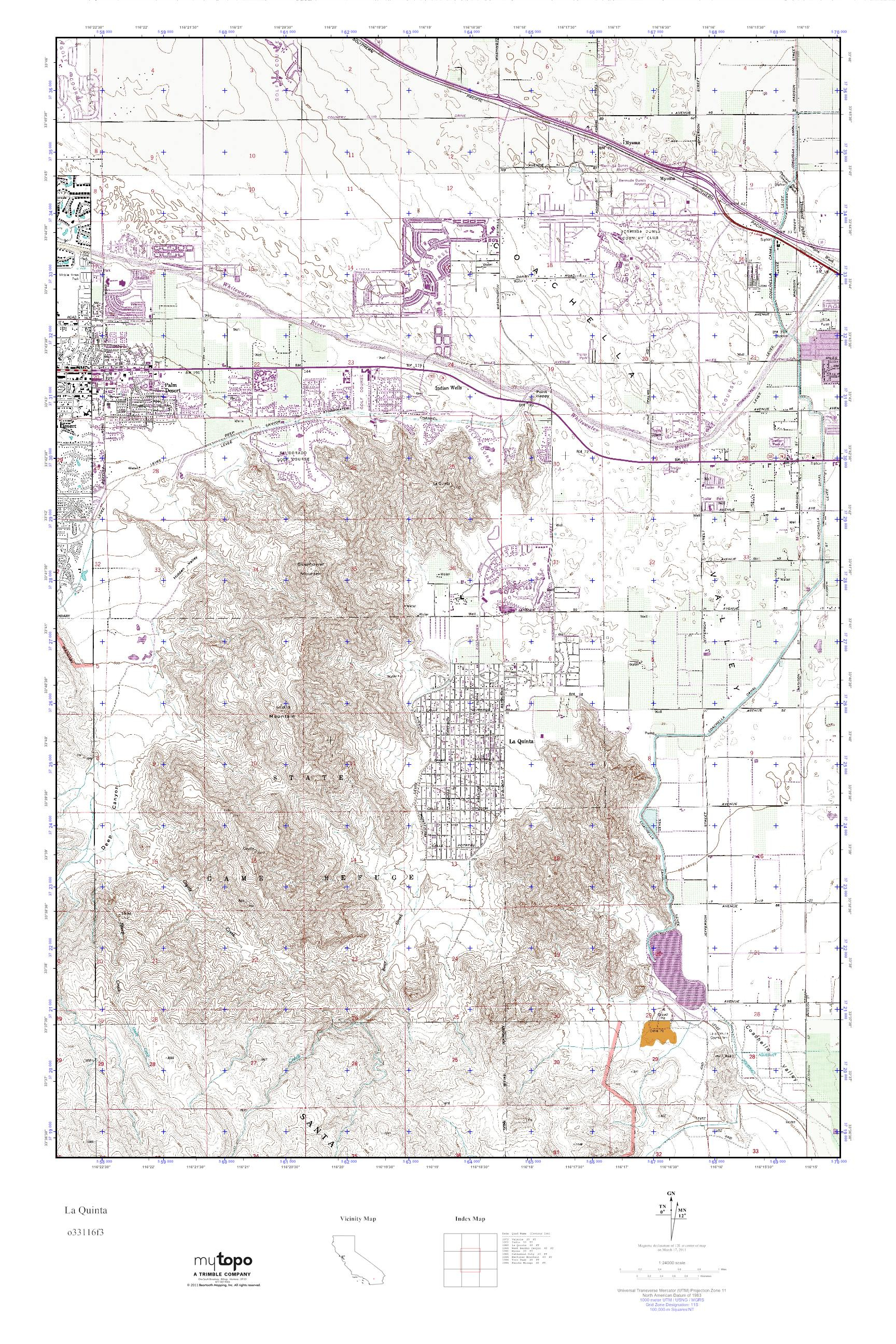 Mytopo La Quinta California Usgs Quad Topo Map And - Touran - La Quinta California Map