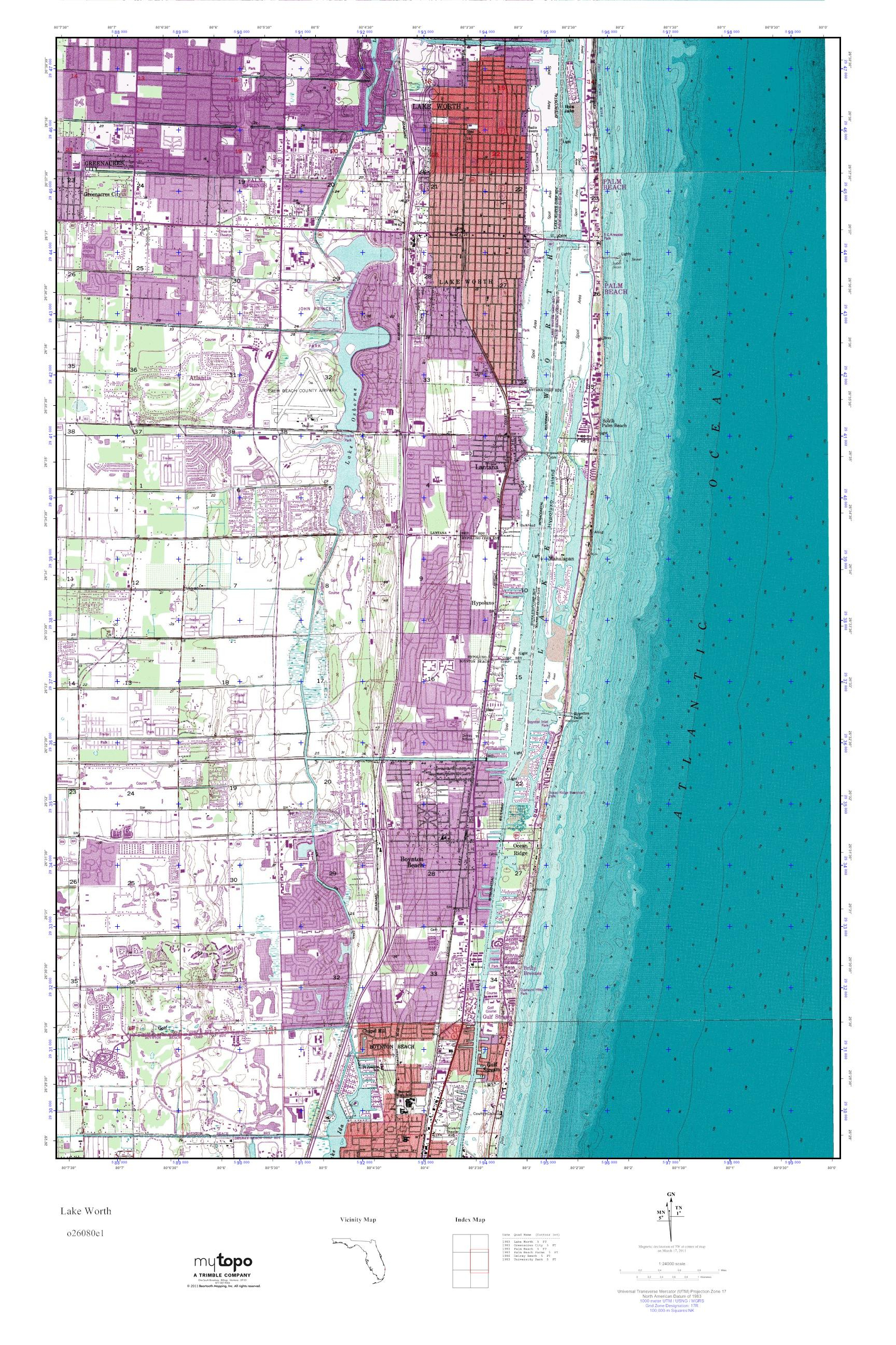 Mytopo Lake Worth, Florida Usgs Quad Topo Map - Lake Worth Florida Map