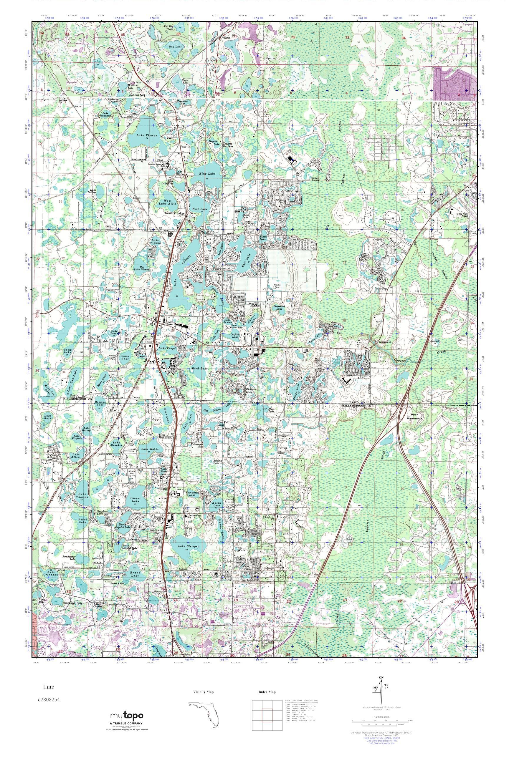 Mytopo Lutz, Florida Usgs Quad Topo Map - Lutz Florida Map