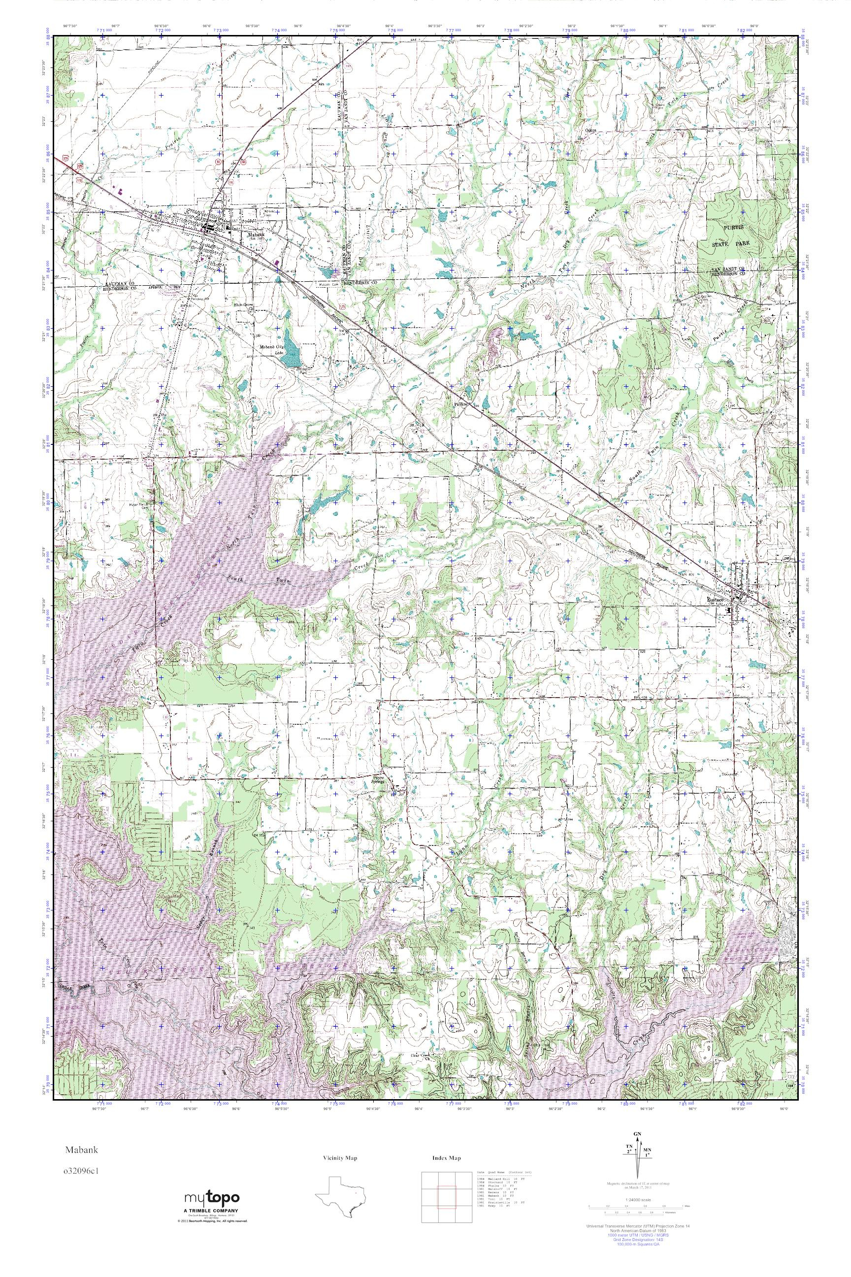 Mytopo Mabank, Texas Usgs Quad Topo Map - Mabank Texas Map