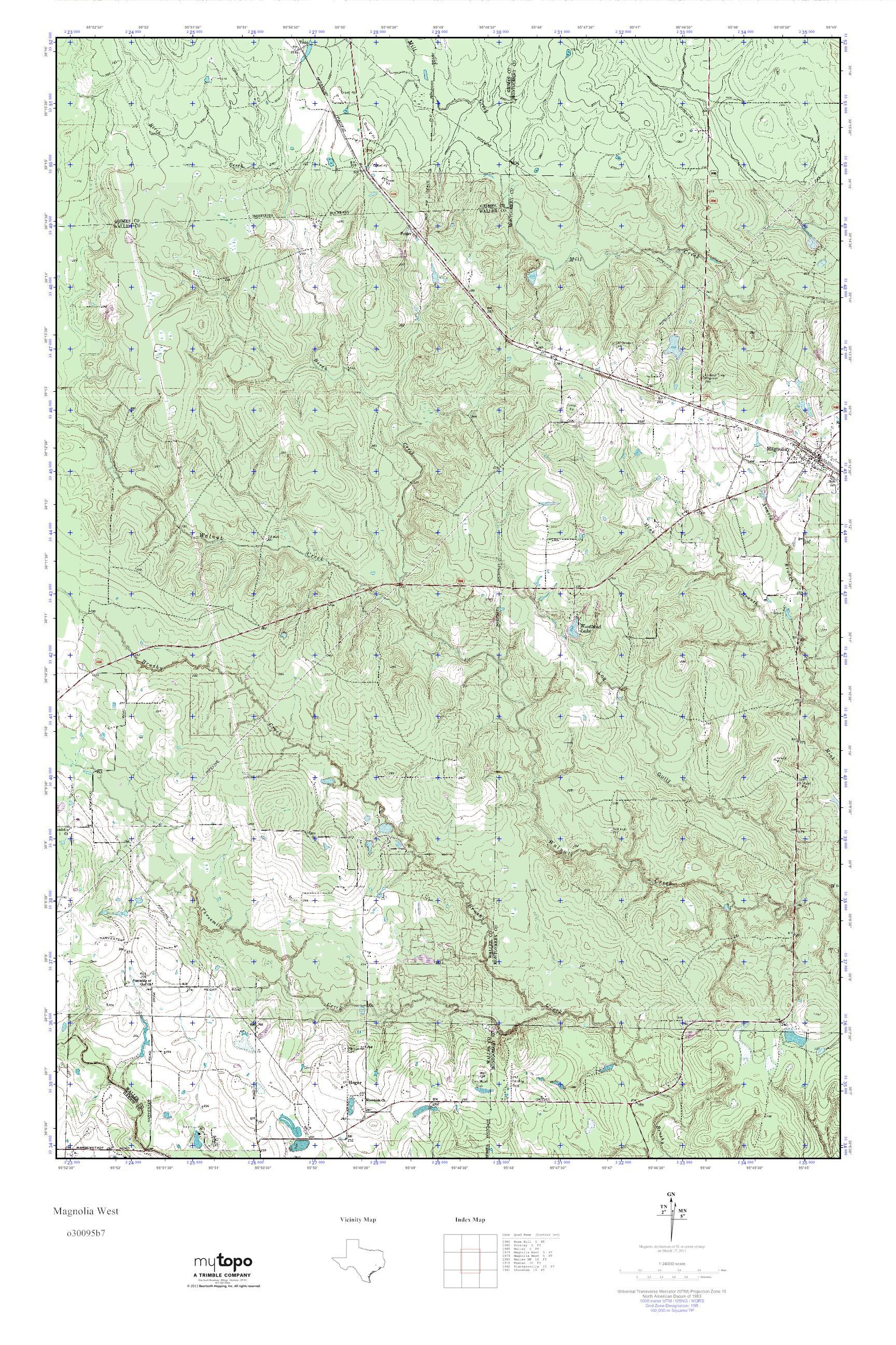 Mytopo Magnolia West, Texas Usgs Quad Topo Map - Magnolia Texas Map