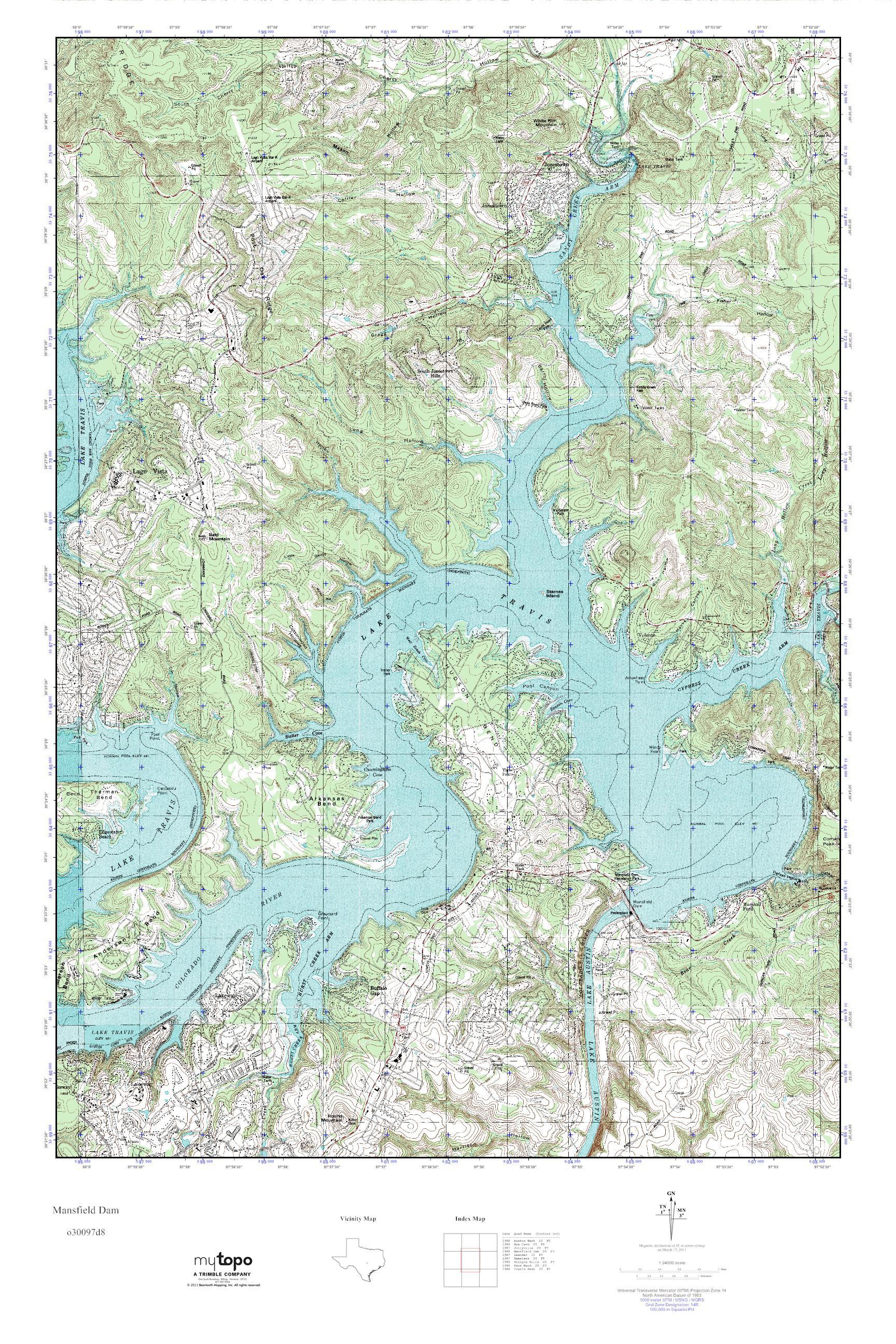 Mytopo Mansfield Dam, Texas Usgs Quad Topo Map - Mansfield Texas Map