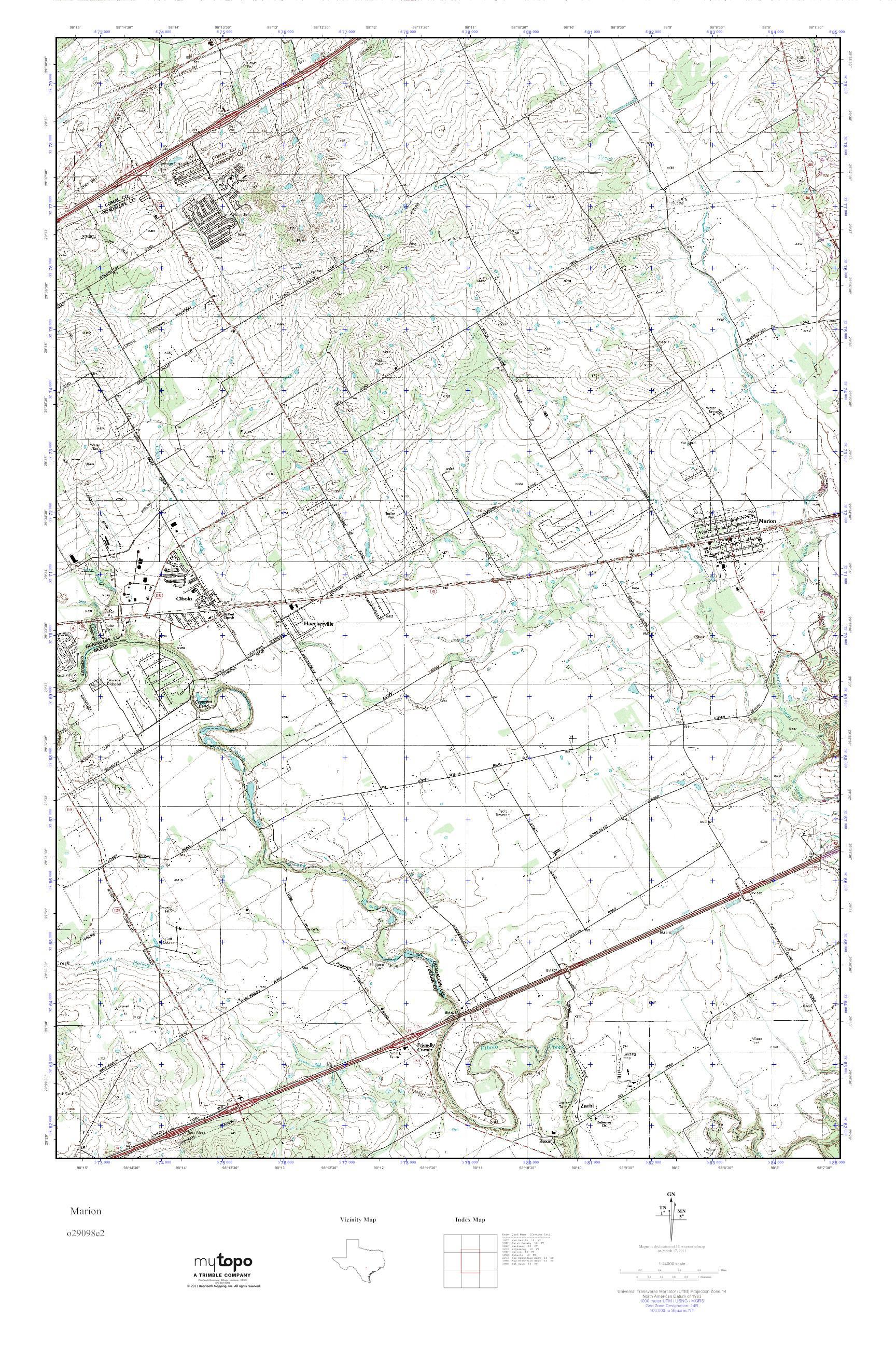 Mytopo Marion, Texas Usgs Quad Topo Map - Marion Texas Map