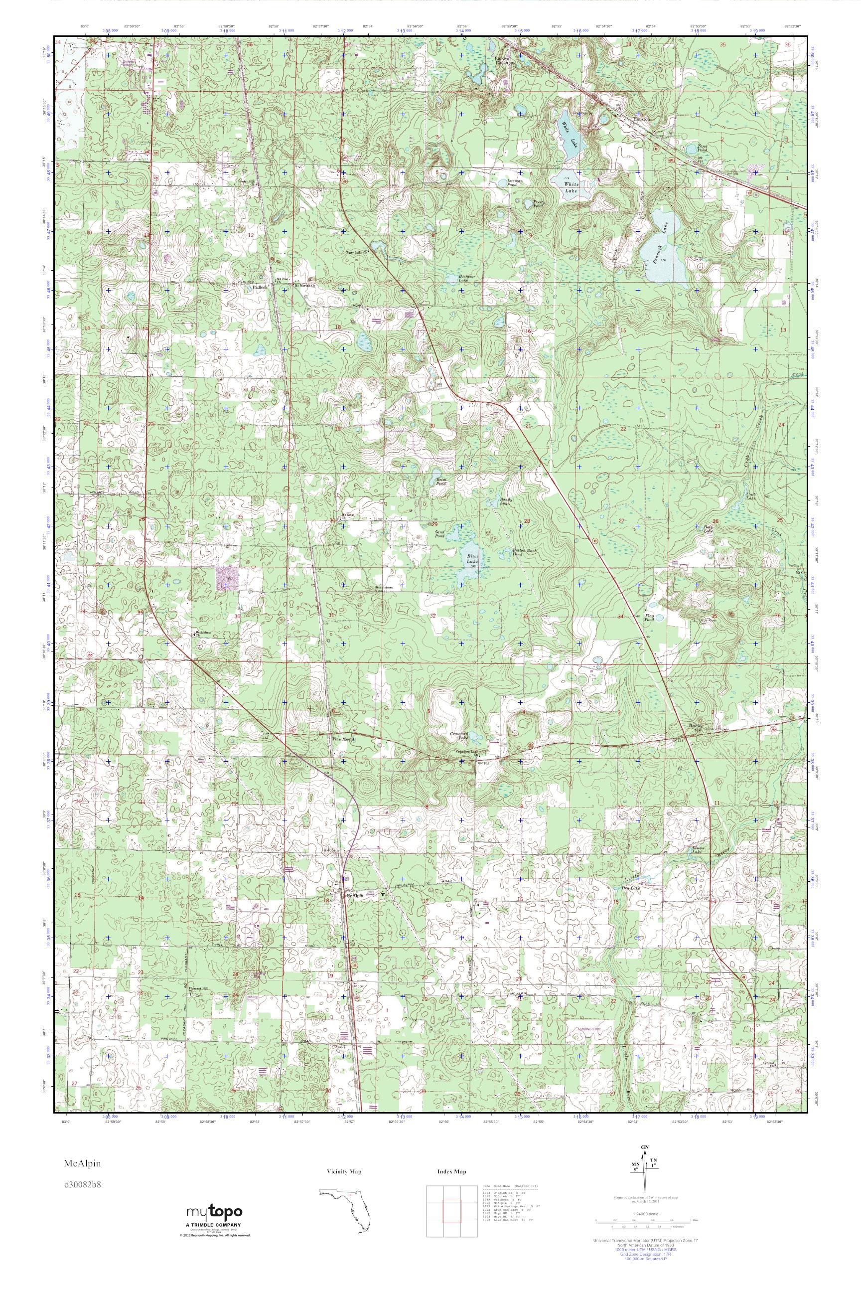 Mytopo Mcalpin, Florida Usgs Quad Topo Map - Mcalpin Florida Map