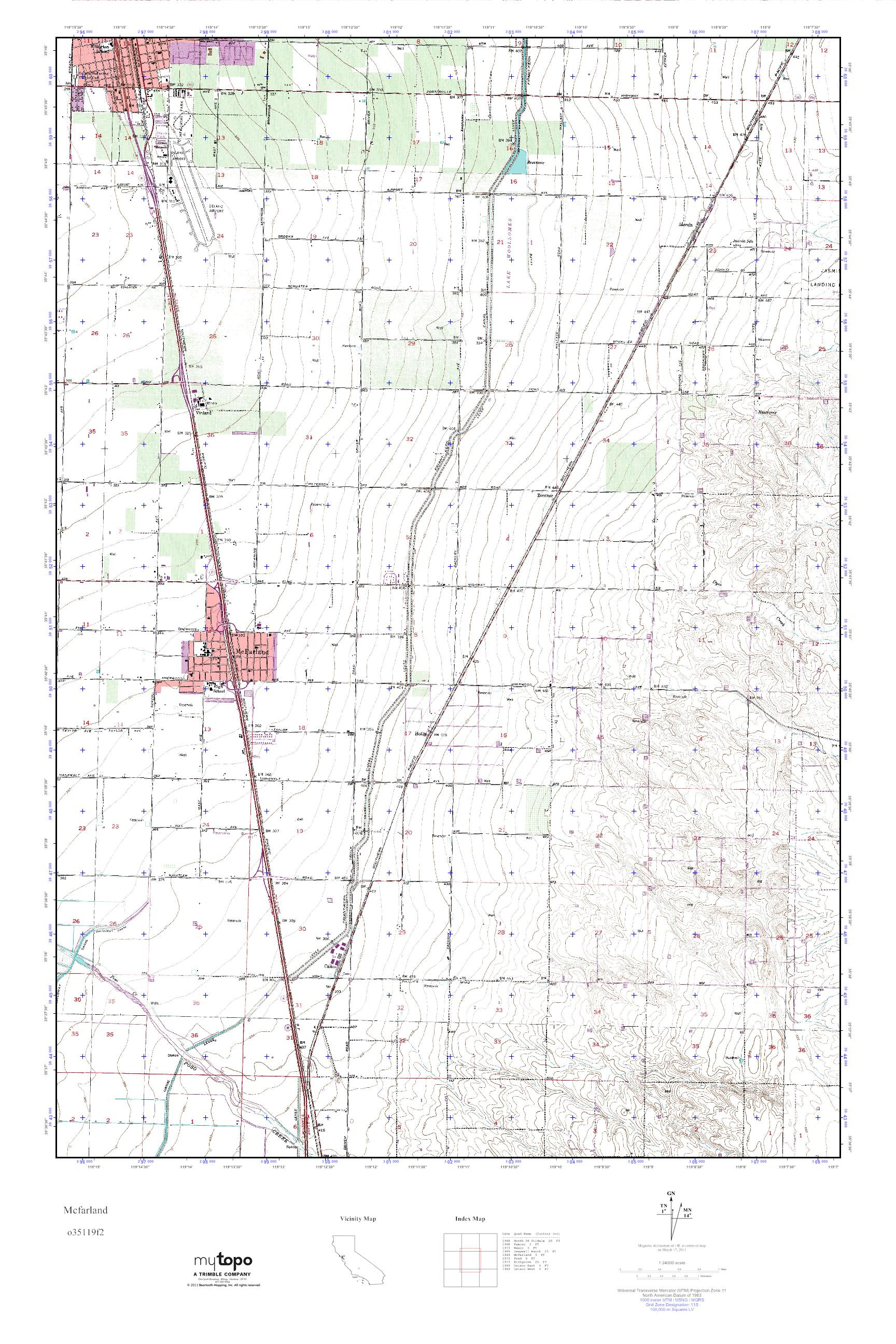 Mytopo Mcfarland, California Usgs Quad Topo Map - Mcfarland California Map