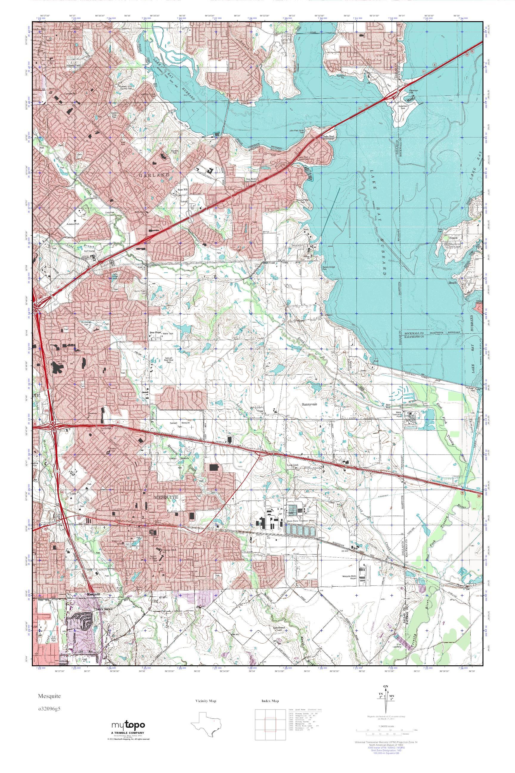 Mytopo Mesquite, Texas Usgs Quad Topo Map - Mesquite Texas Map