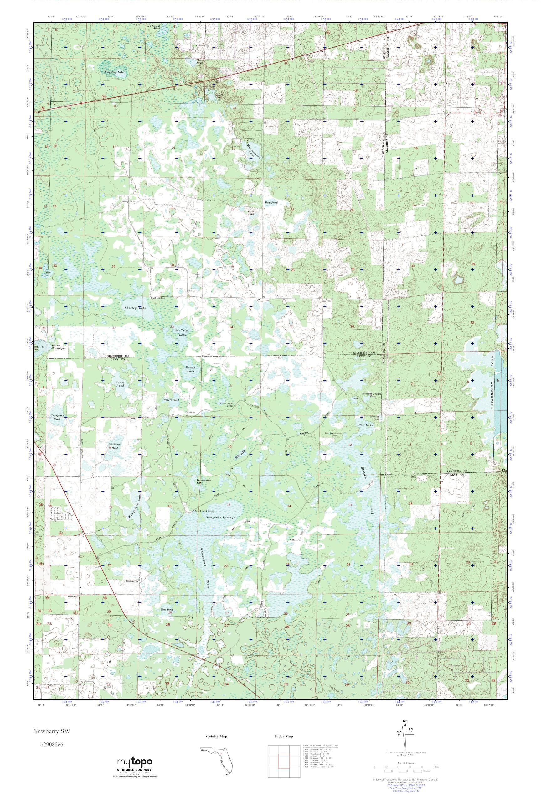 Mytopo Newberry Sw, Florida Usgs Quad Topo Map - Newberry Florida Map