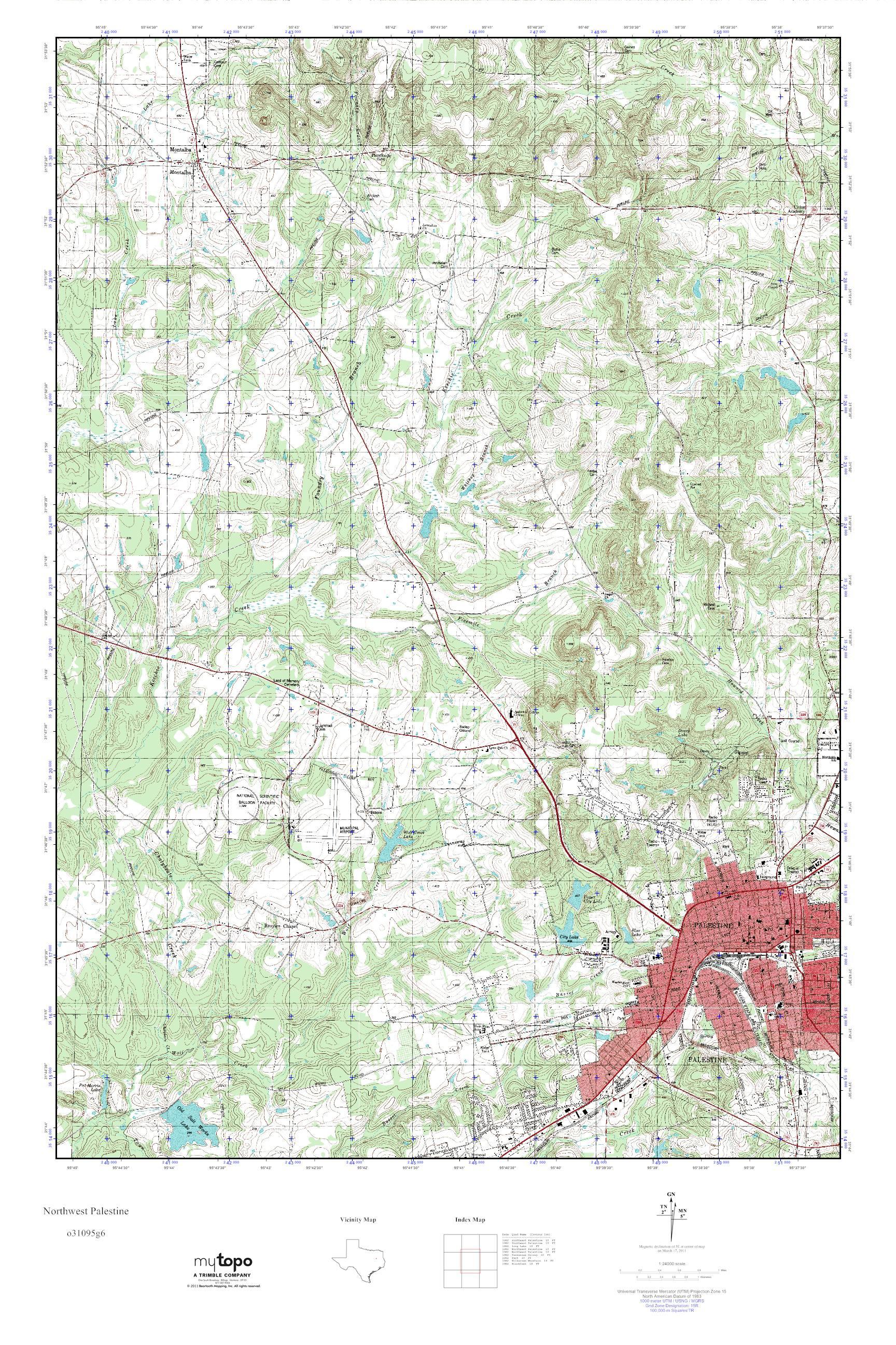 Mytopo Northwest Palestine, Texas Usgs Quad Topo Map - Palestine Texas Map