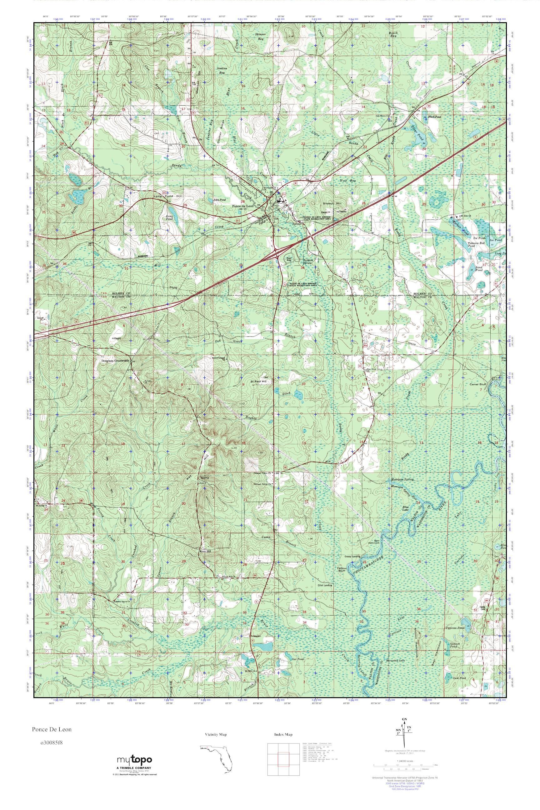 Mytopo Ponce De Leon, Florida Usgs Quad Topo Map - Usgs Topographic Maps Florida