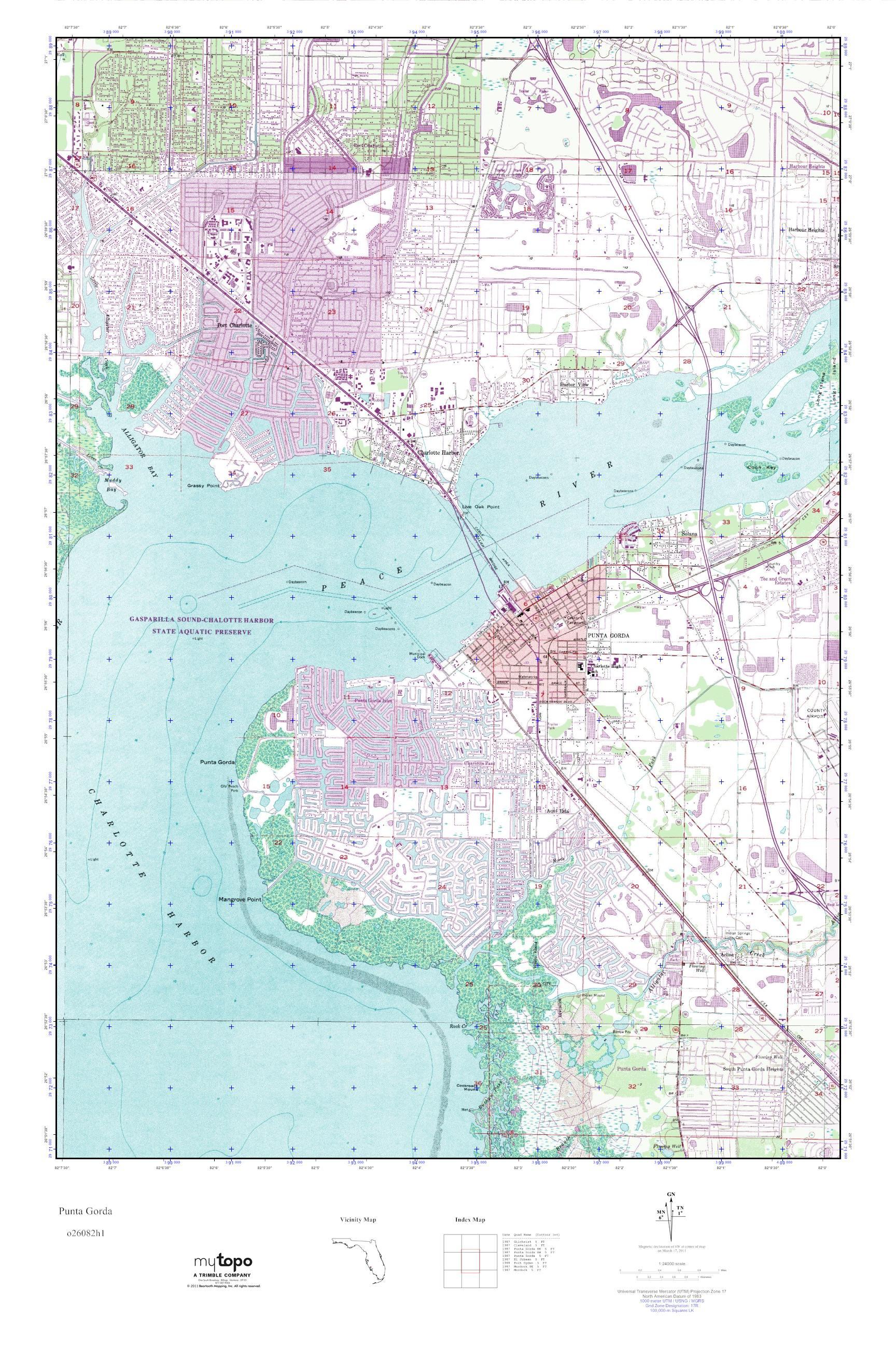 Mytopo Punta Gorda, Florida Usgs Quad Topo Map - Punta Gorda Florida Map