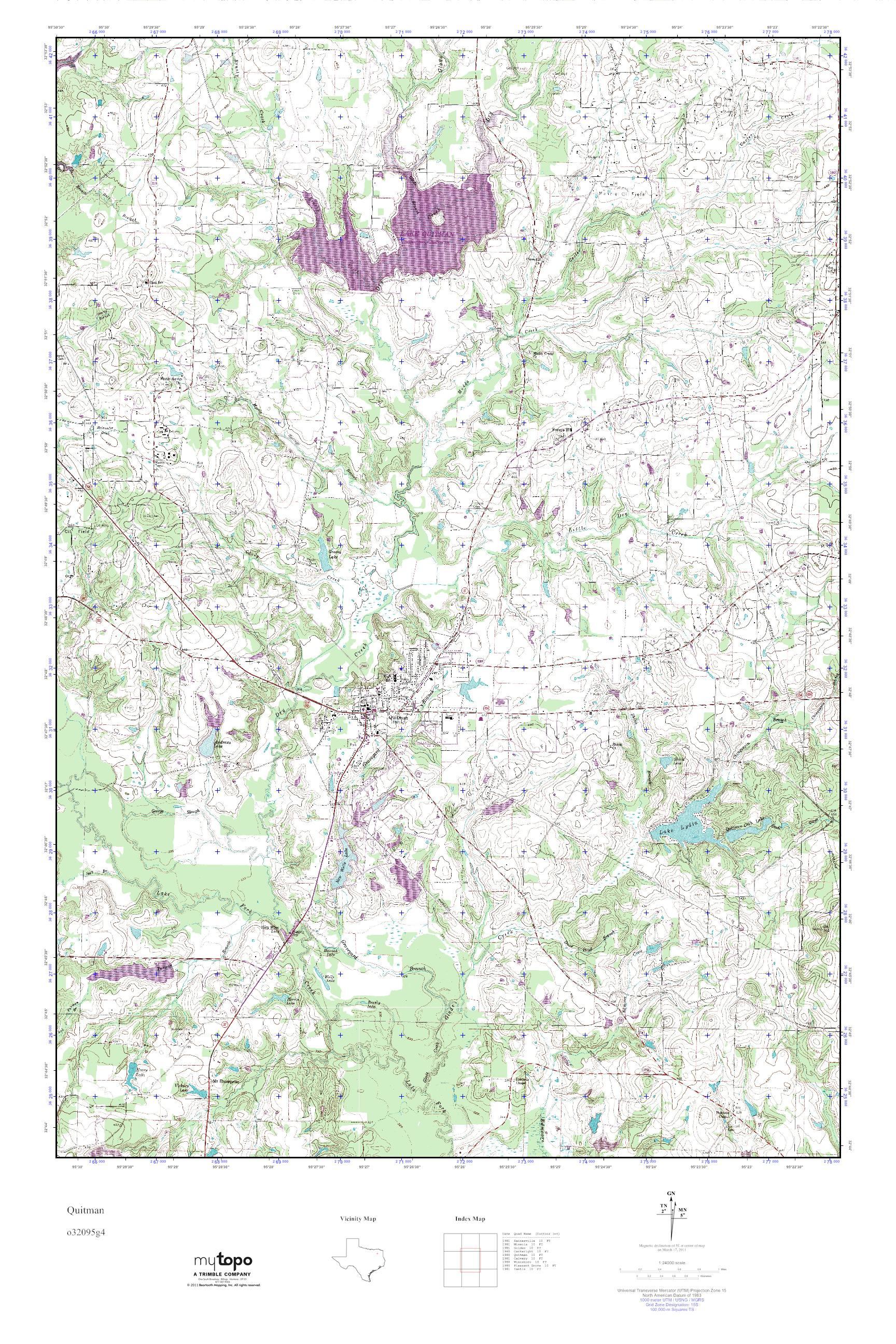 Mytopo Quitman, Texas Usgs Quad Topo Map - Quitman Texas Map