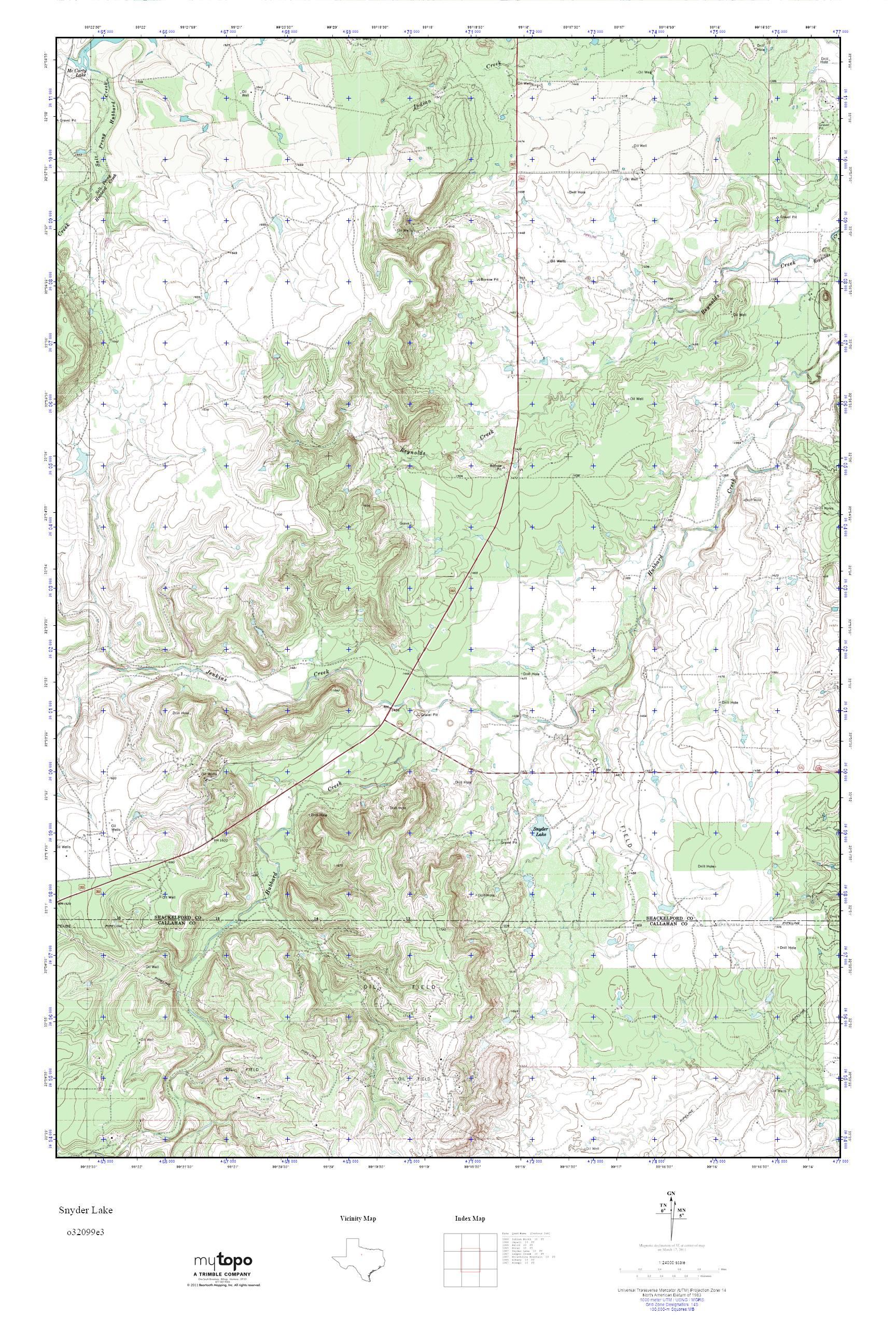 Mytopo Snyder Lake, Texas Usgs Quad Topo Map - Snyder Texas Map