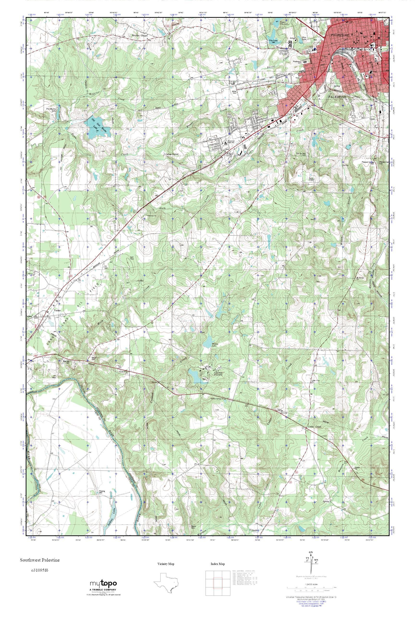 Mytopo Southwest Palestine, Texas Usgs Quad Topo Map - Palestine Texas Map