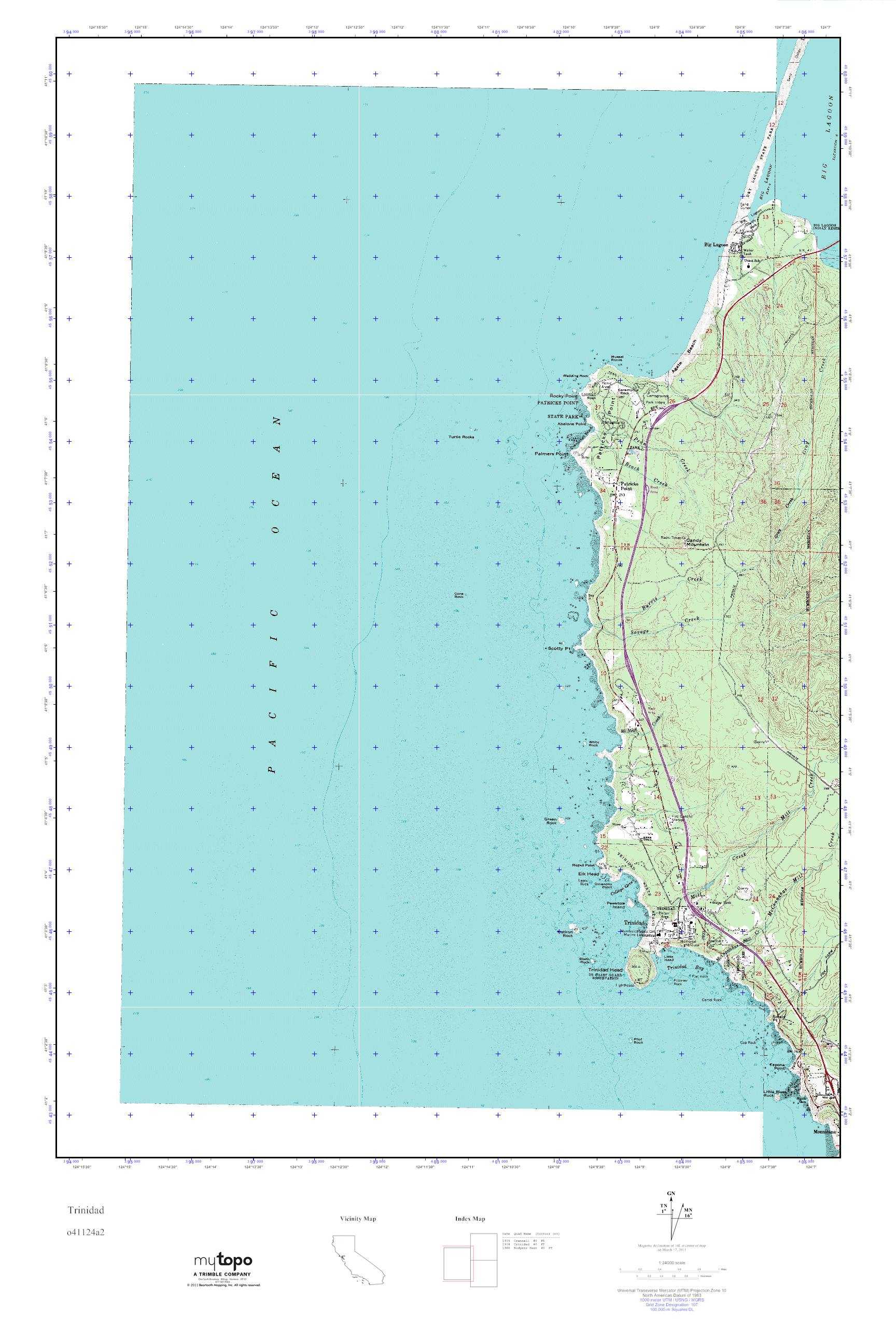 Mytopo Trinidad, California Usgs Quad Topo Map - Trinidad California Map