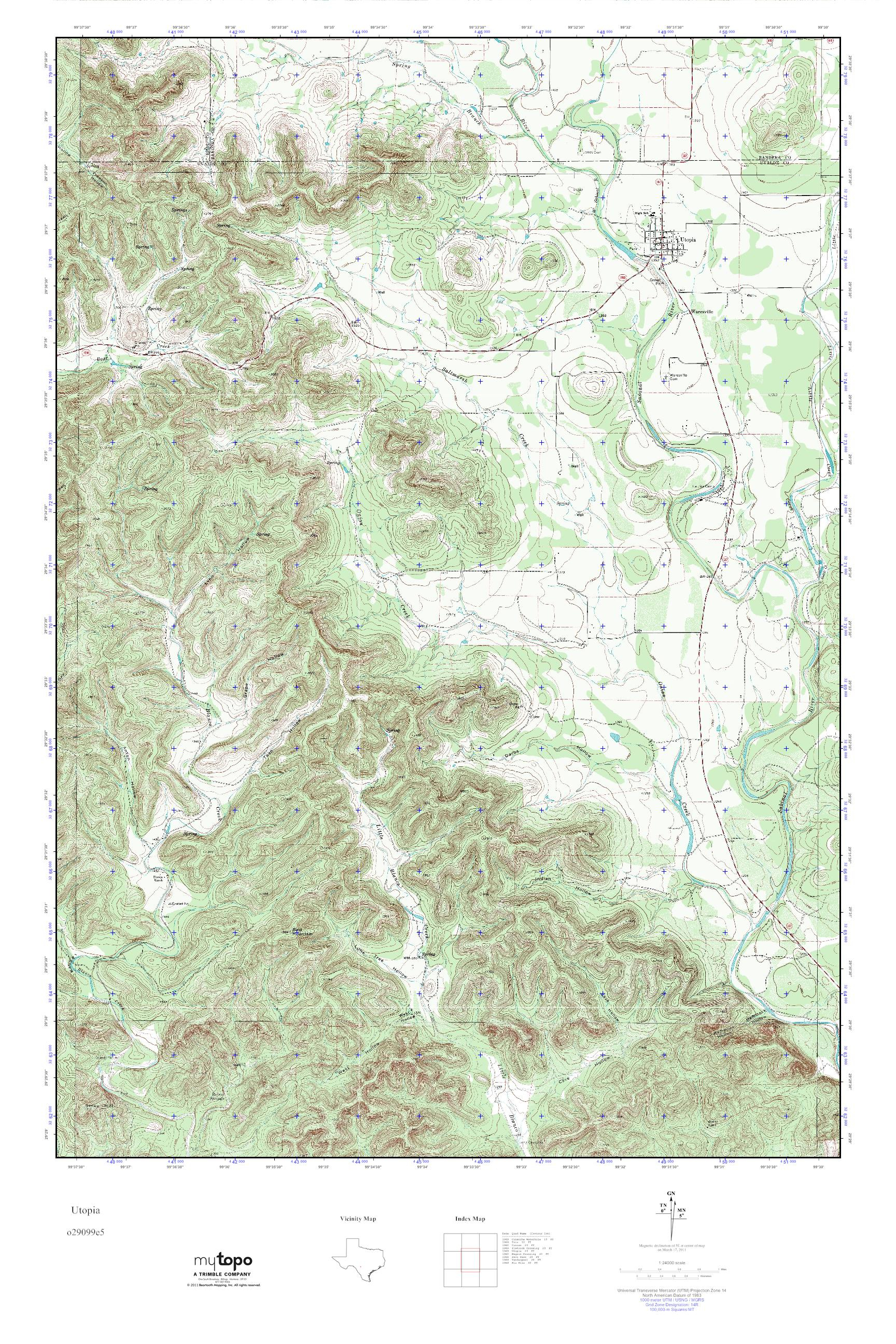 Mytopo Utopia, Texas Usgs Quad Topo Map - Utopia Texas Map