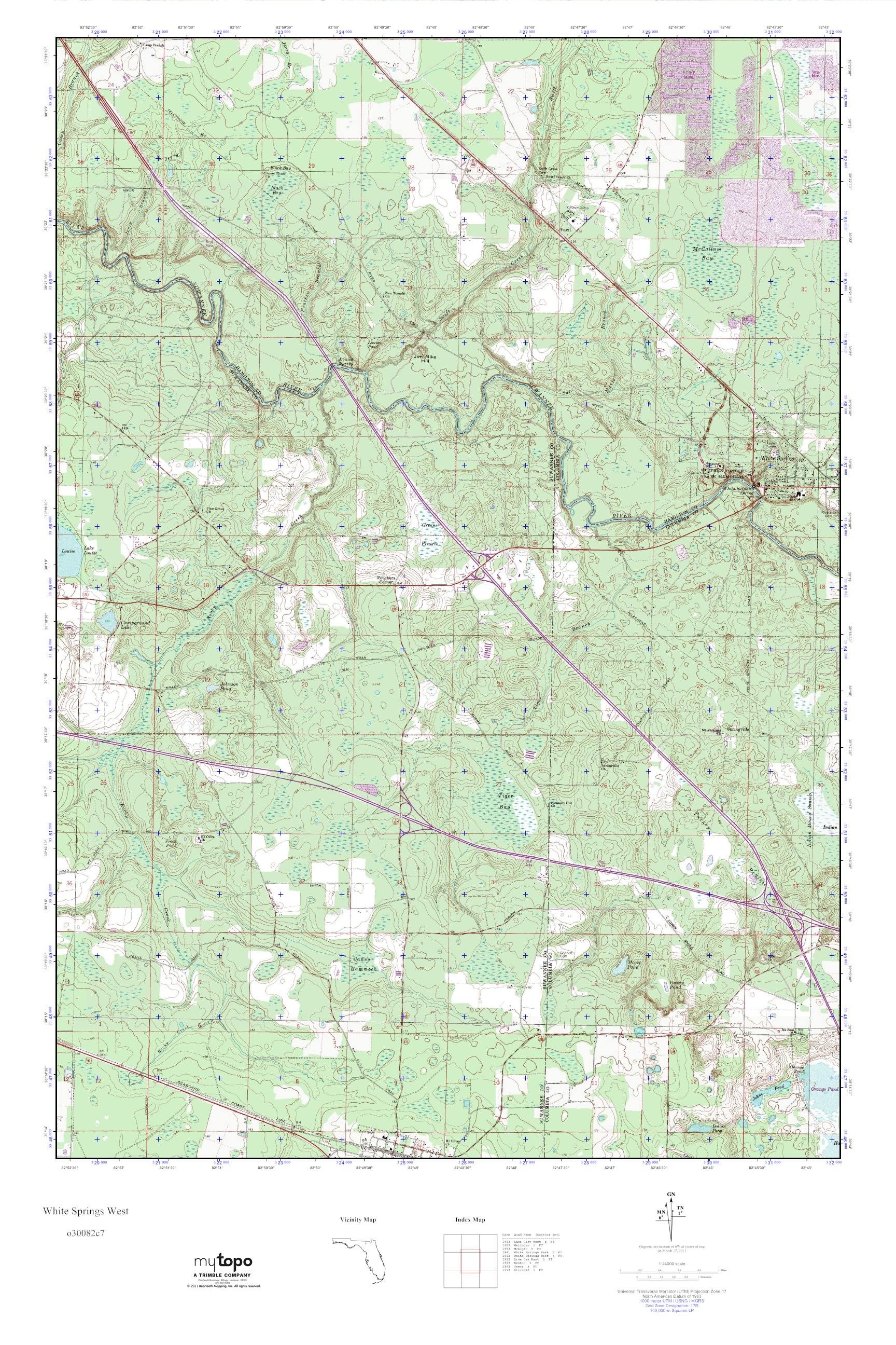 Mytopo White Springs West, Florida Usgs Quad Topo Map - White Springs Florida Map
