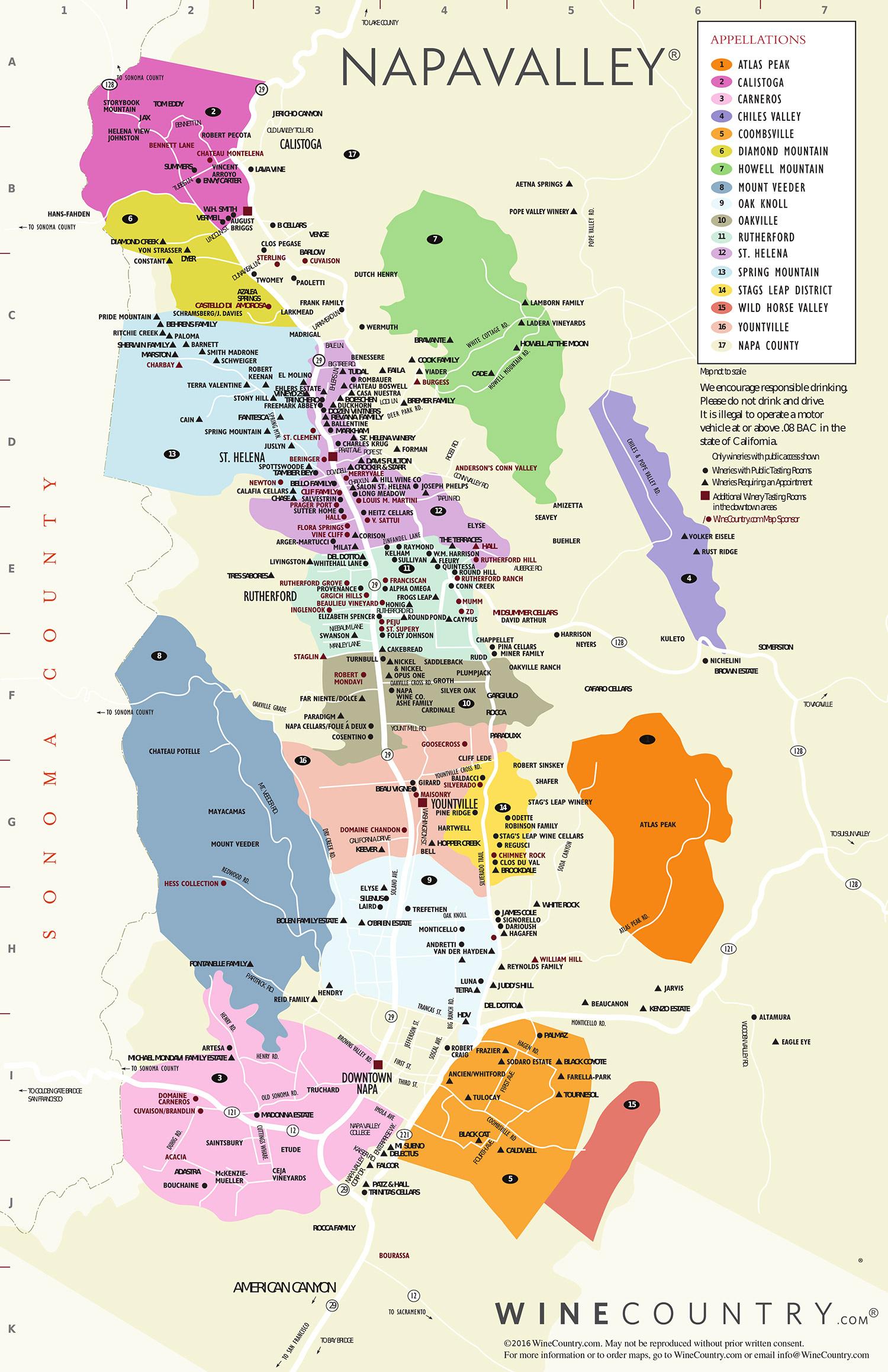 Napa Valley Wine Country Maps - Napavalley - Napa California Map