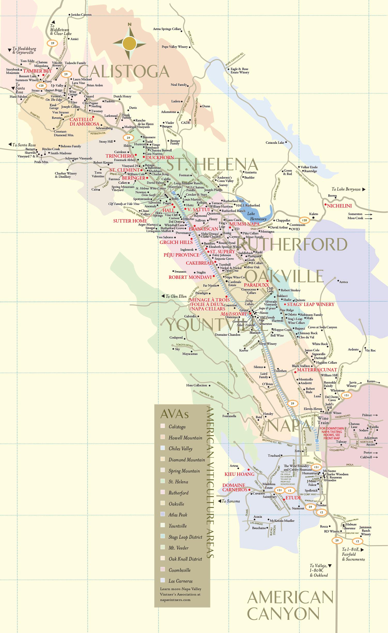 Napa Valley Wineries | Wine Tastings, Tours & Winery Map - California Vineyards Map