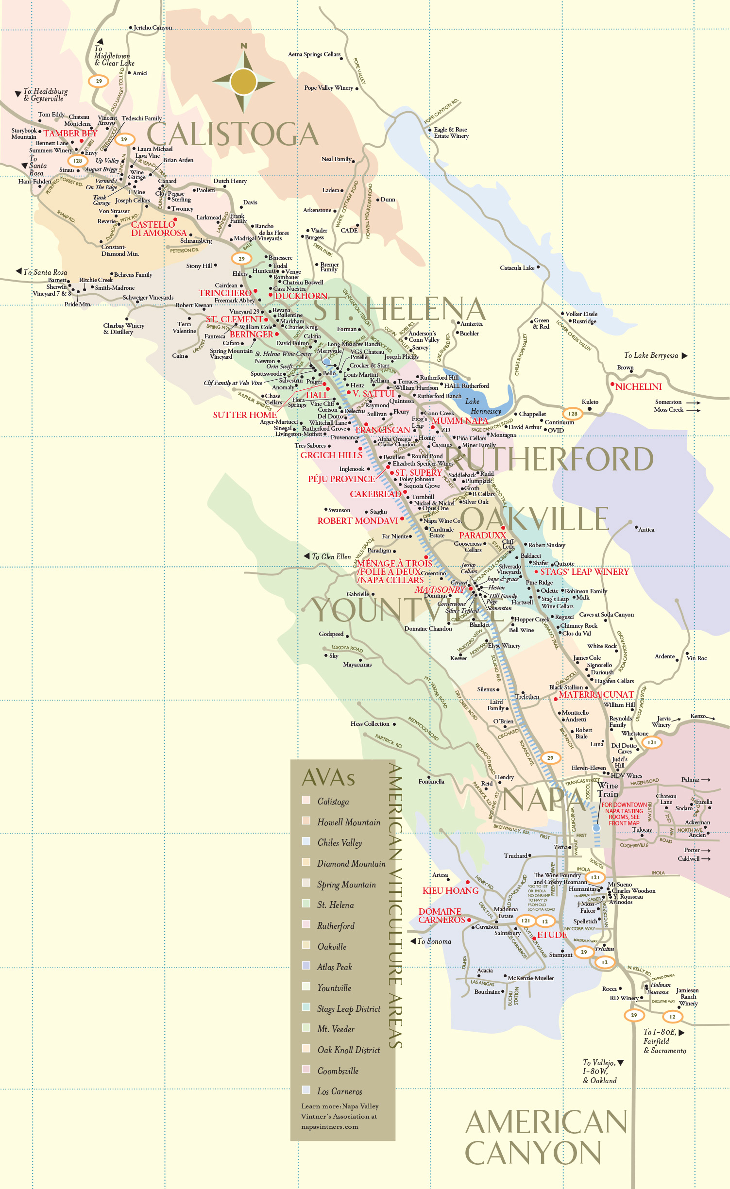Napa Valley Wineries | Wine Tastings, Tours & Winery Map - Napa Valley California Map