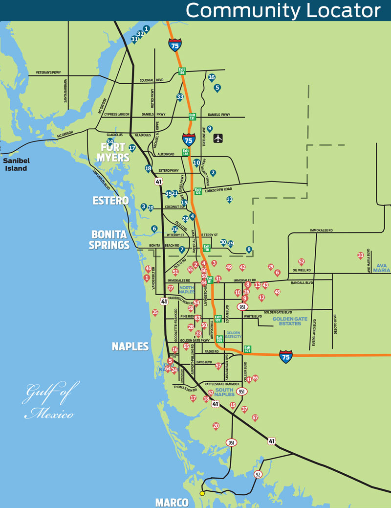 Naples Daily News Community Locator Map - Vanderbilt Beach Florida Map