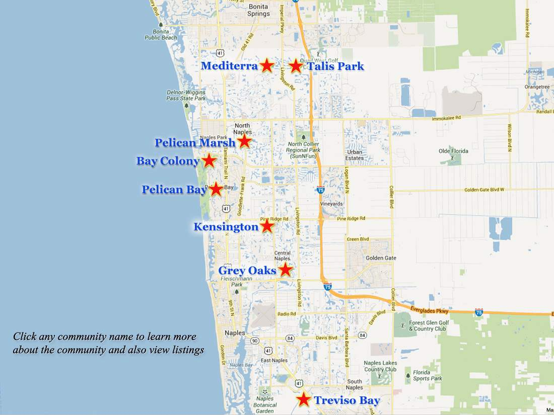 Naples-Golf-Communities-Map - Naples Florida Beaches Map