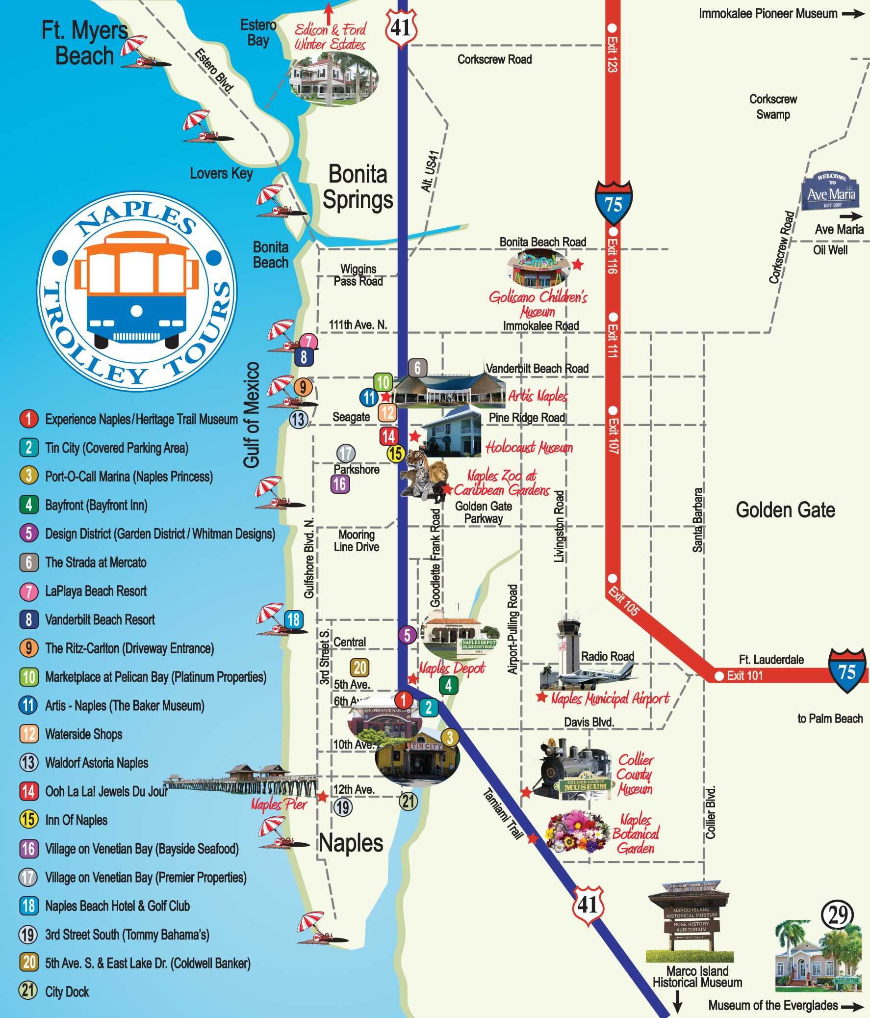 Naples Trolley - Route Map   Fav Places In My Home State..florida - Vanderbilt Beach Florida Map