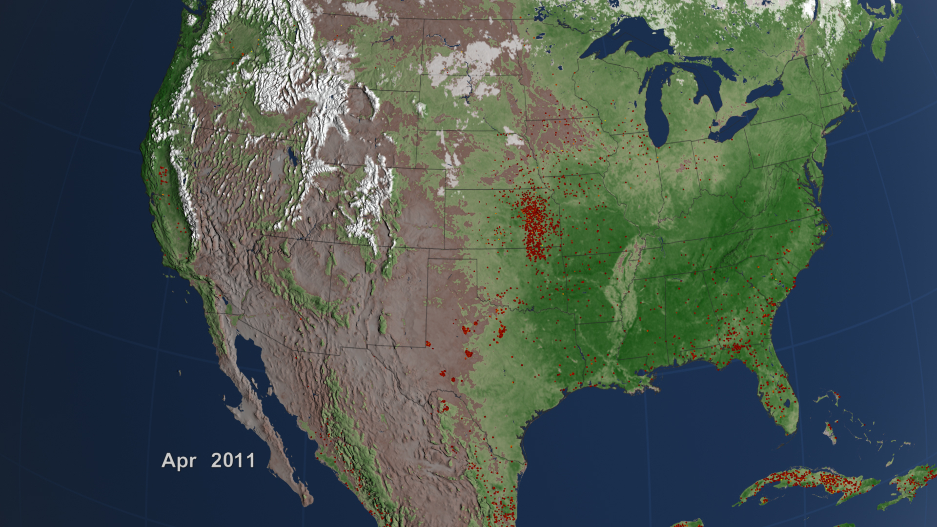 Nasa - A Look Back At A Decade Of Fires - Texas Active Fire Map