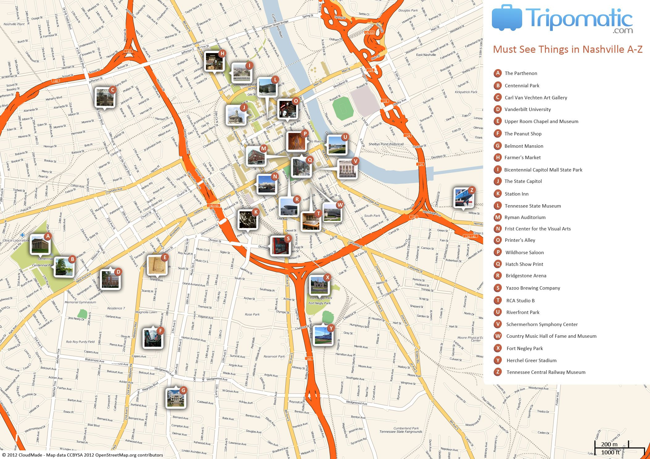 Nashville Printable Tourist Map | Free Tourist Maps ✈ | Nashville - Printable Map Of Nashville