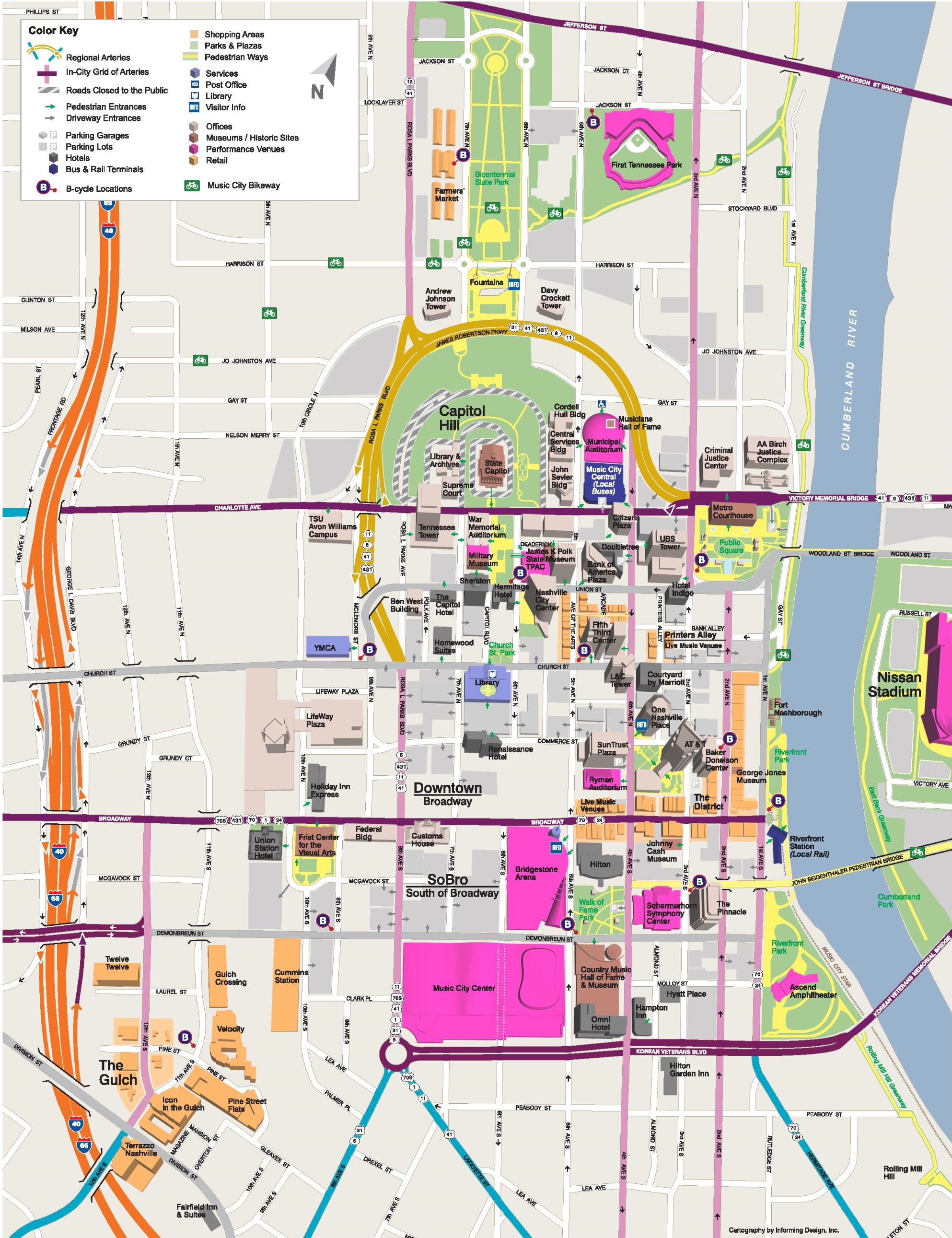 Nashville Tourist Attractions Map - Printable Map Of Nashville