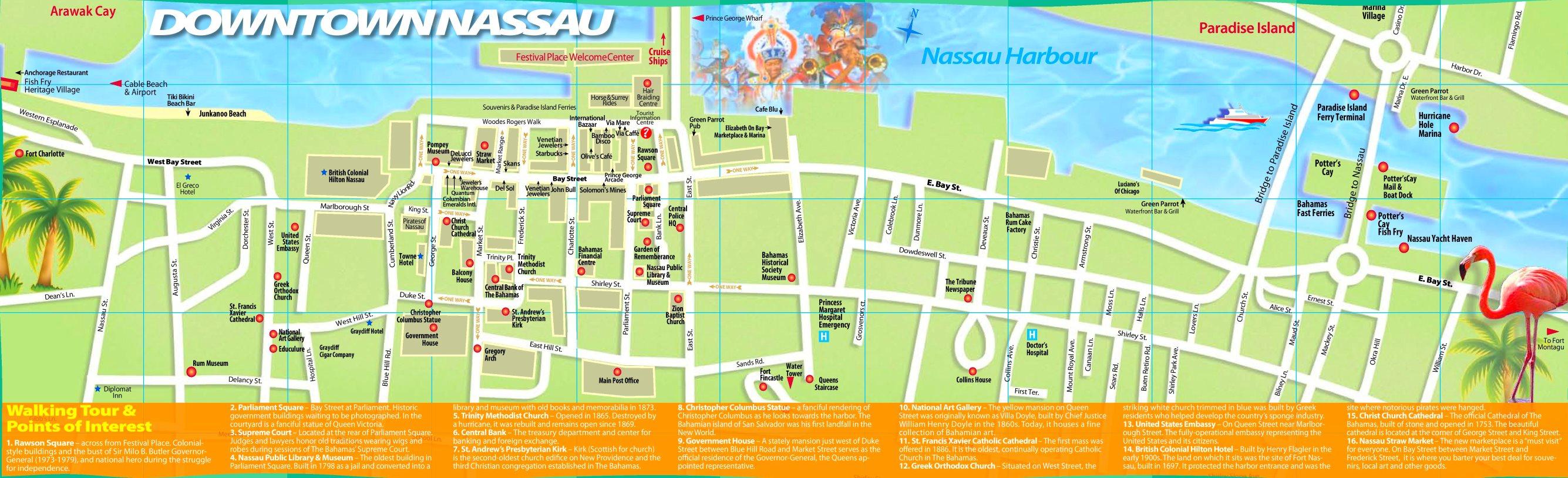 Nassau Tourist Map - Printable Map Of Nassau Bahamas