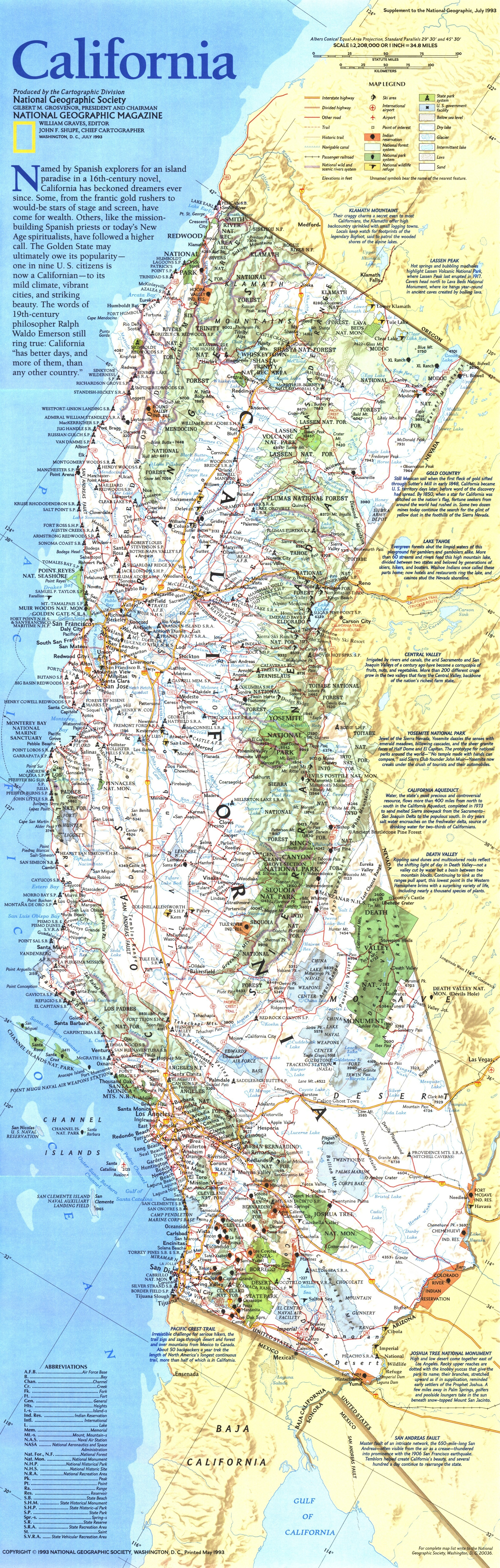 National Geographic California Map 1993 17 California Geographic Map - National Geographic Maps California