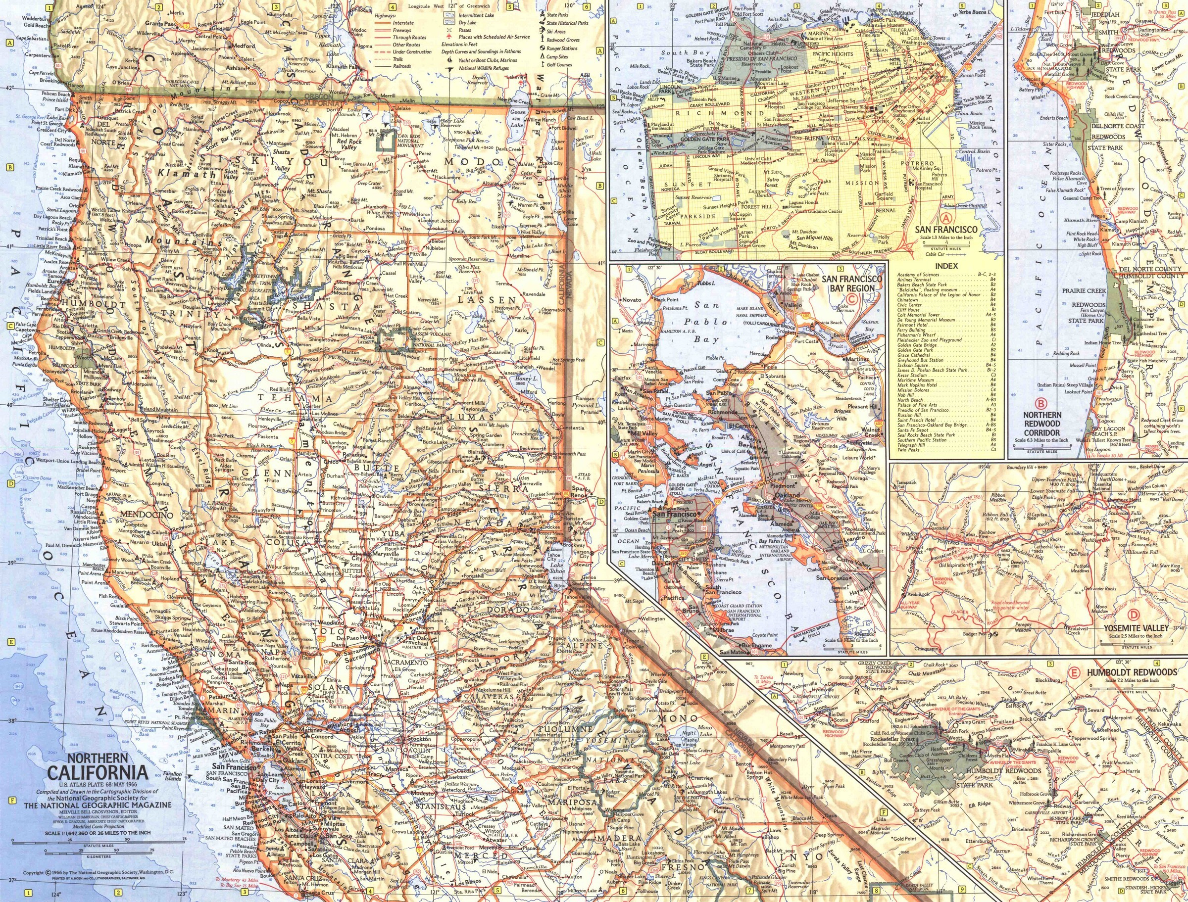 National Geographic Northern California Map 1966 - Maps - National Geographic Maps California