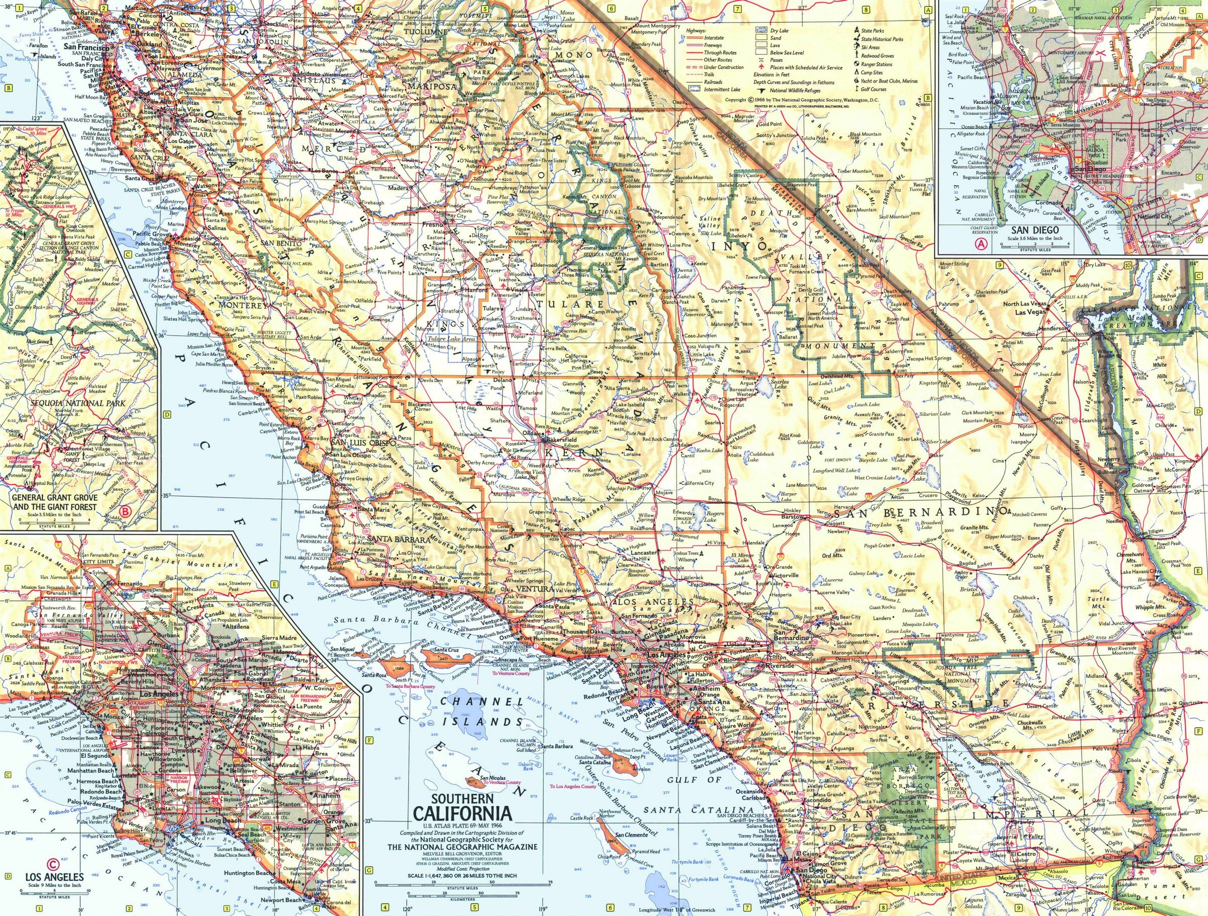 National Geographic Southern California Map 1966 - Maps - Map Of Southern California